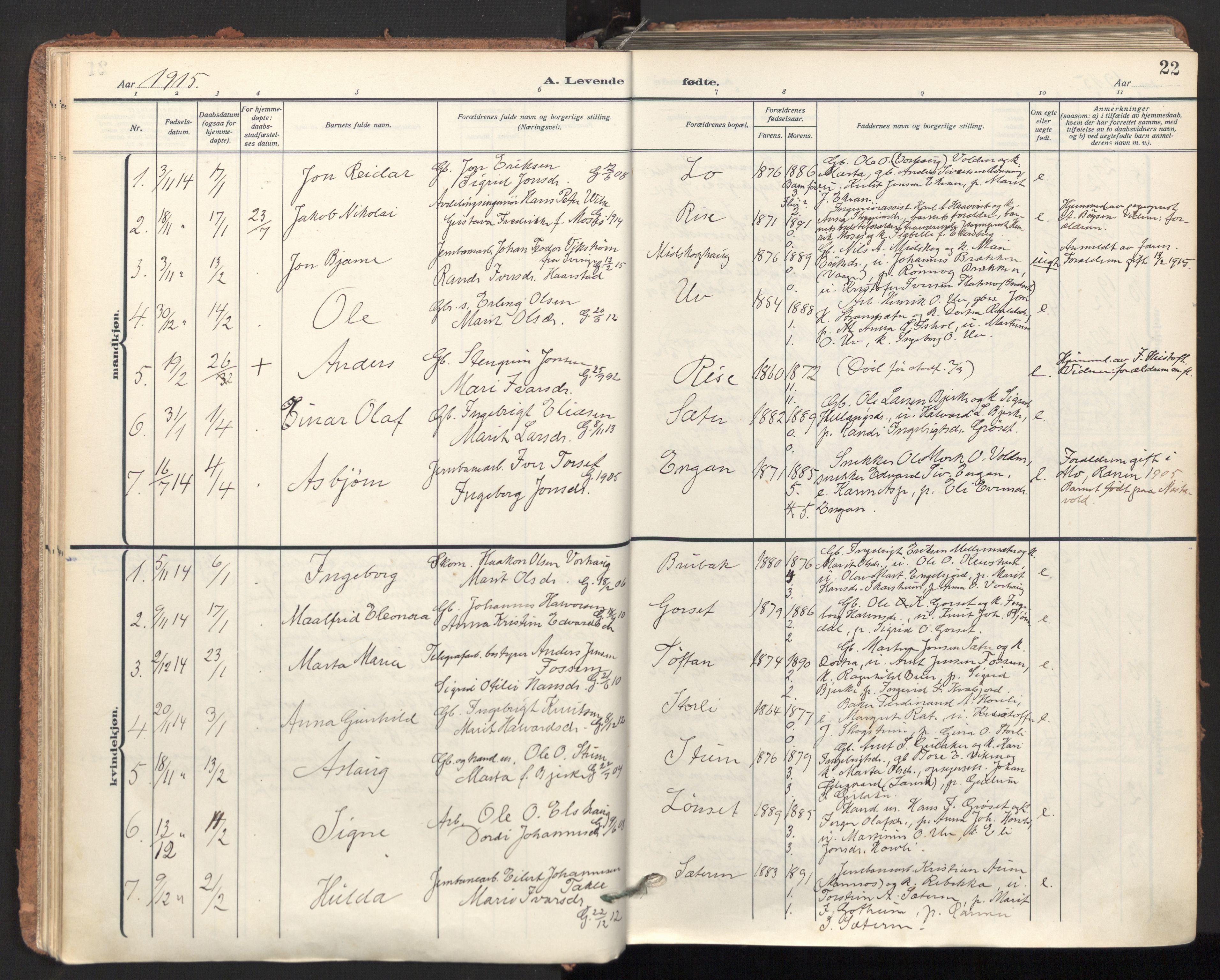 SAT, Ministerialprotokoller, klokkerbøker og fødselsregistre - Sør-Trøndelag, 678/L0909: Ministerialbok nr. 678A17, 1912-1930, s. 22