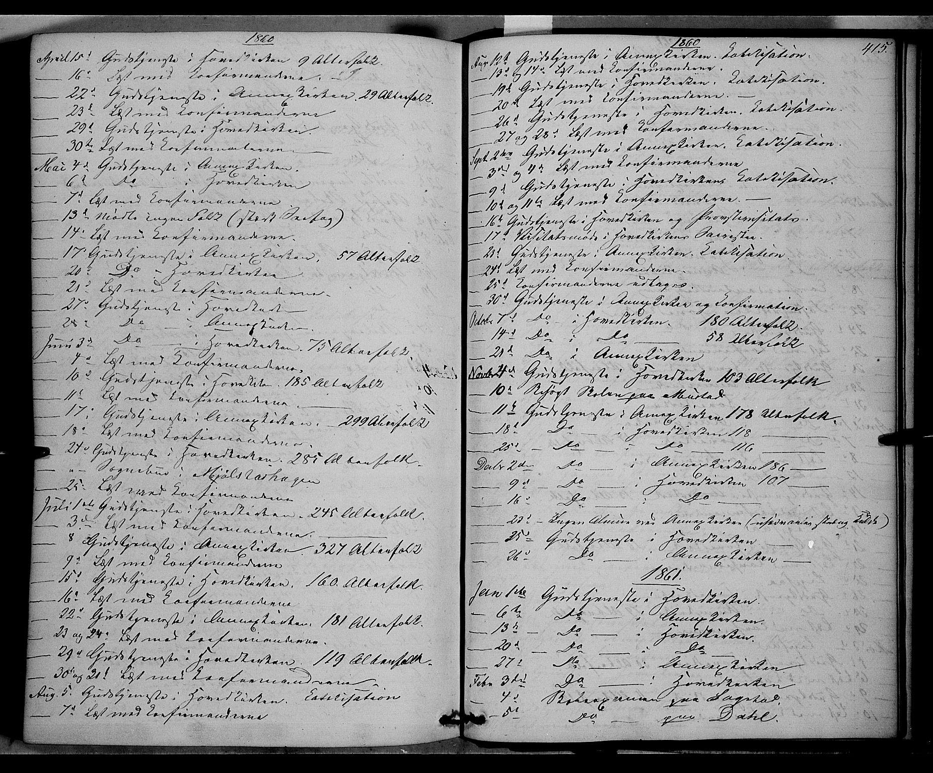SAH, Vardal prestekontor, H/Ha/Haa/L0006: Ministerialbok nr. 6, 1854-1866, s. 415