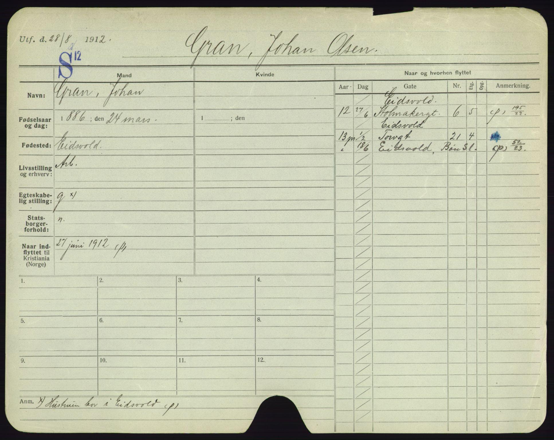 SAO, Oslo folkeregister, Registerkort, F/Fa/Fac/L0003: Menn, 1906-1914, s. 551a