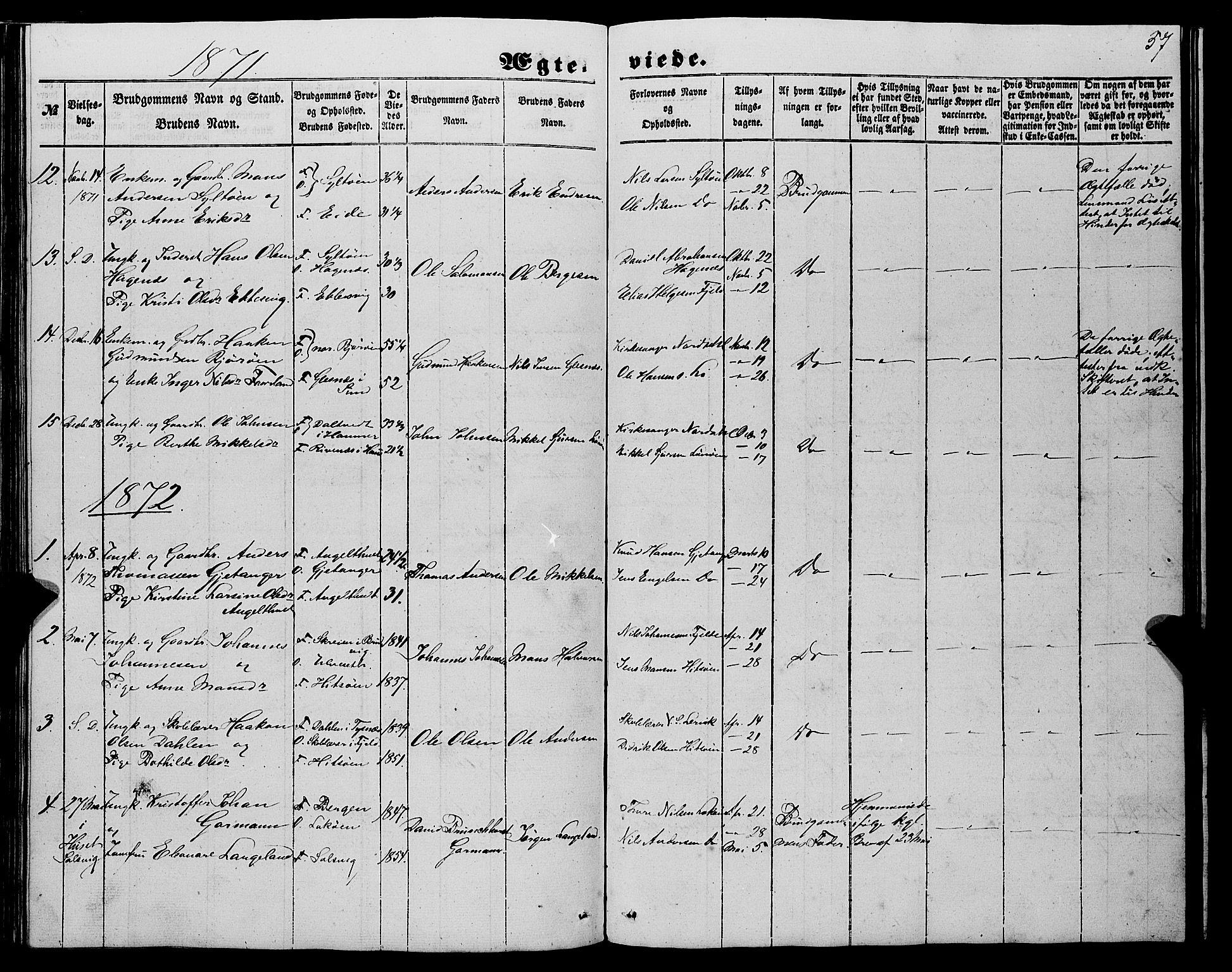 SAB, Fjell Sokneprestembete, H/Haa: Ministerialbok nr. A 6, 1849-1877, s. 57