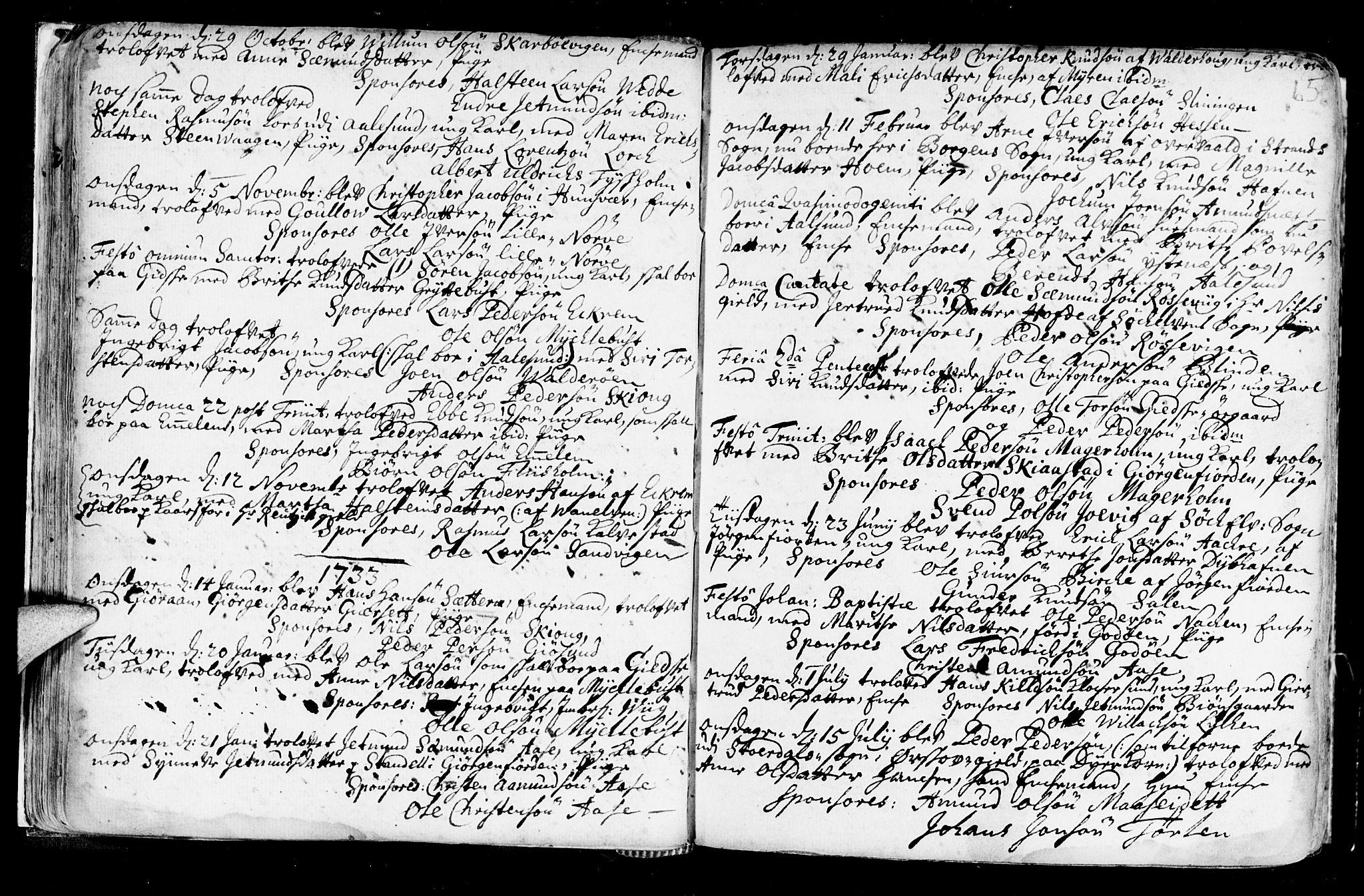 SAT, Ministerialprotokoller, klokkerbøker og fødselsregistre - Møre og Romsdal, 528/L0390: Ministerialbok nr. 528A01, 1698-1739, s. 64-65