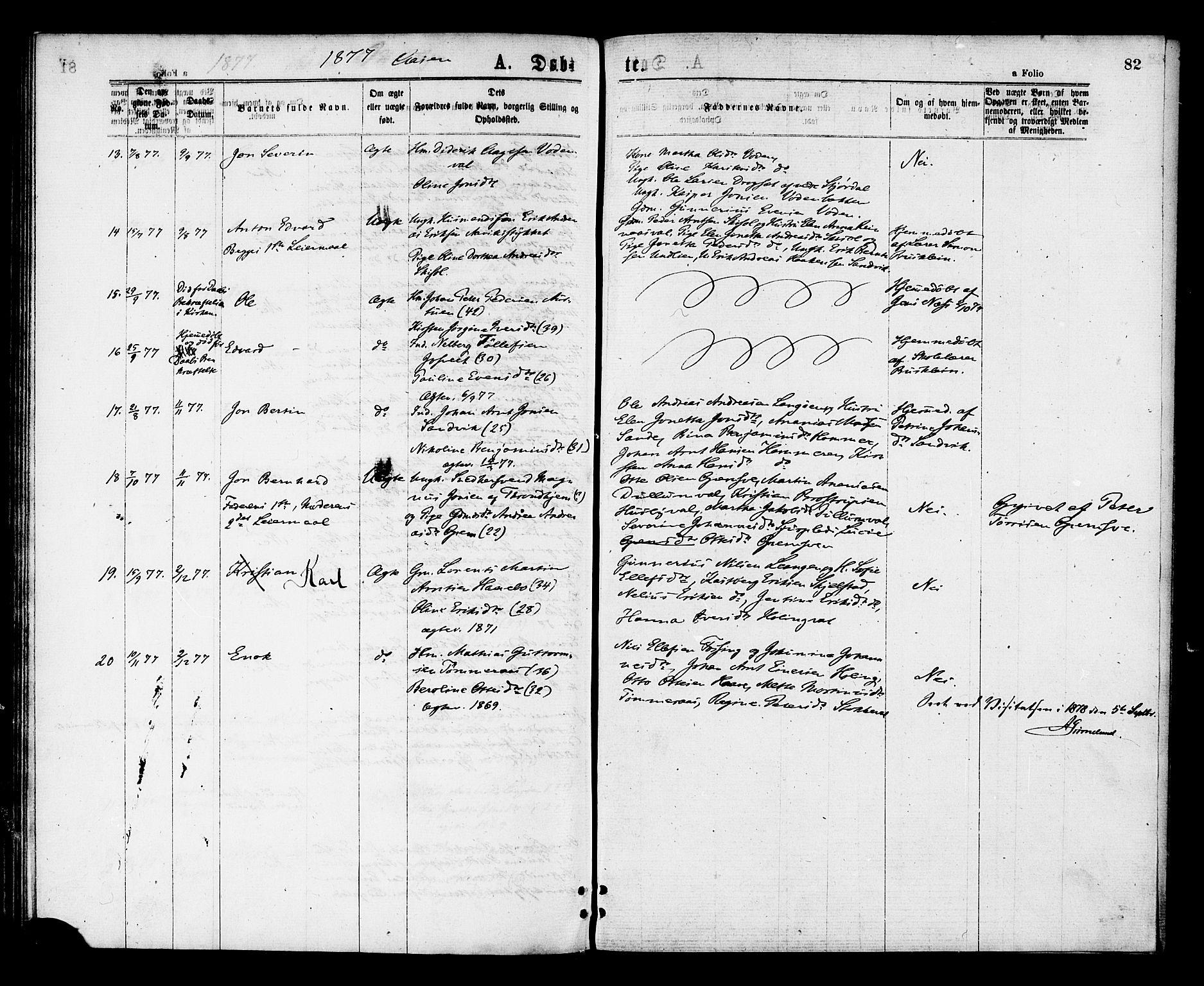 SAT, Ministerialprotokoller, klokkerbøker og fødselsregistre - Nord-Trøndelag, 713/L0118: Ministerialbok nr. 713A08 /2, 1875-1877, s. 82