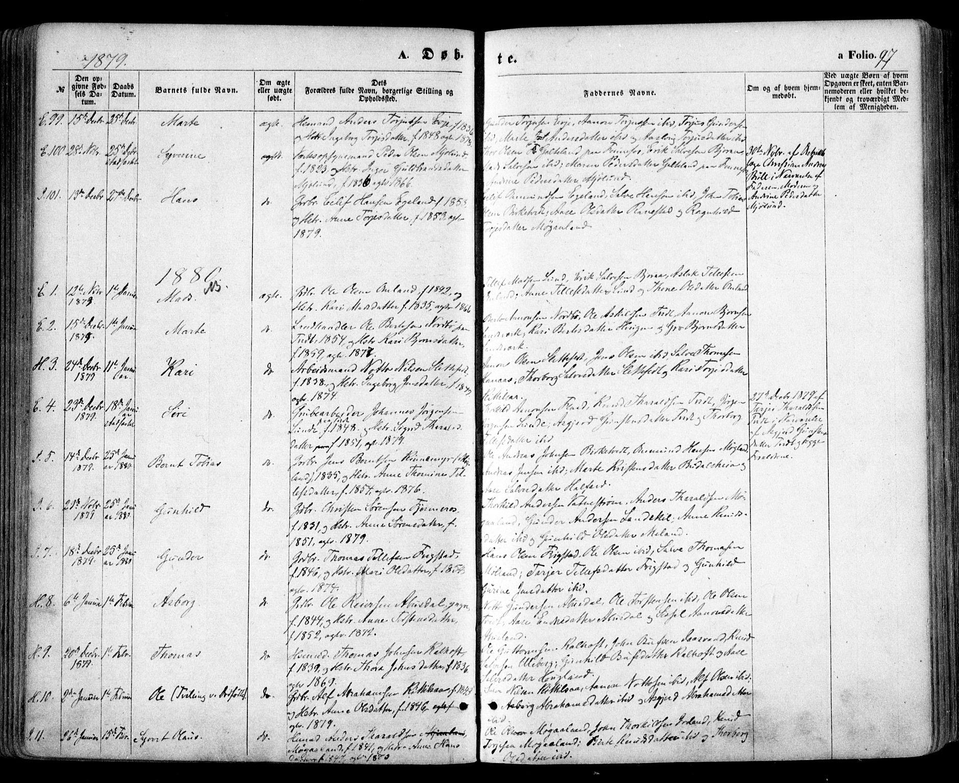 SAK, Evje sokneprestkontor, F/Fa/Faa/L0006: Ministerialbok nr. A 6, 1866-1884, s. 97