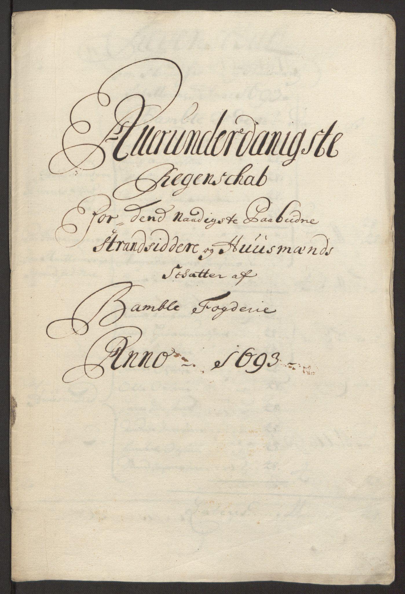 RA, Rentekammeret inntil 1814, Reviderte regnskaper, Fogderegnskap, R34/L2052: Fogderegnskap Bamble, 1692-1693, s. 320