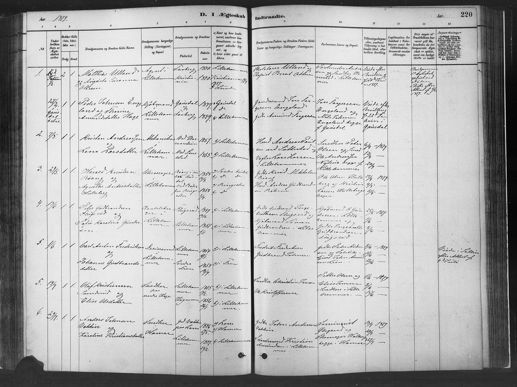 SAH, Fåberg prestekontor, Ministerialbok nr. 10, 1879-1900, s. 220