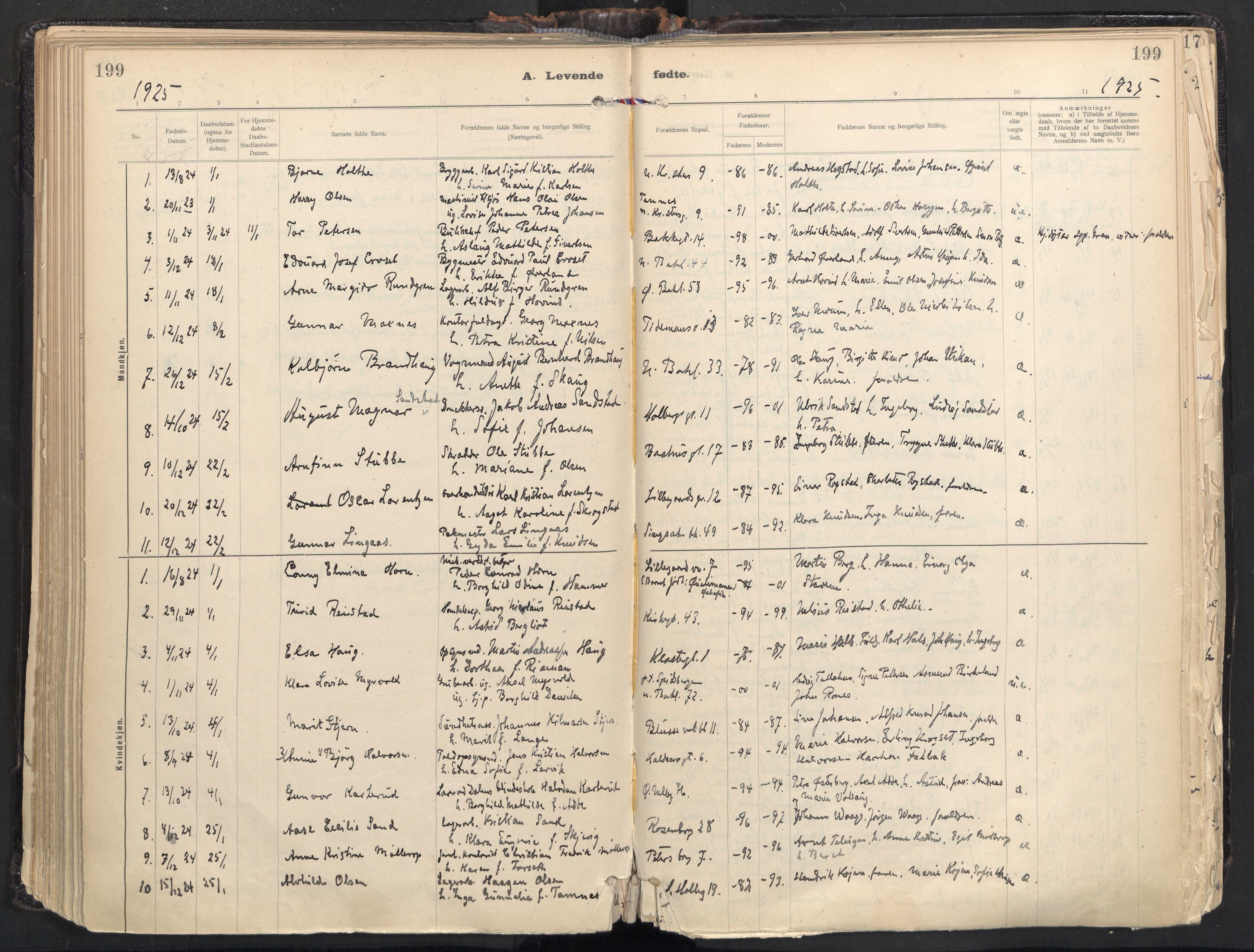 SAT, Ministerialprotokoller, klokkerbøker og fødselsregistre - Sør-Trøndelag, 604/L0205: Ministerialbok nr. 604A25, 1917-1932, s. 199