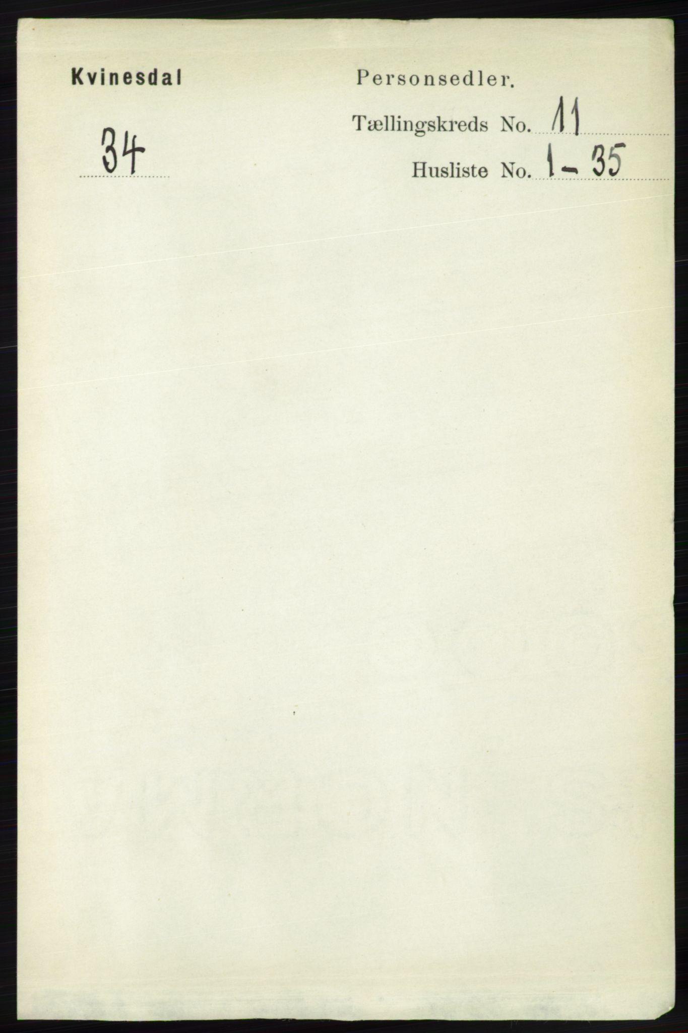RA, Folketelling 1891 for 1037 Kvinesdal herred, 1891, s. 4504