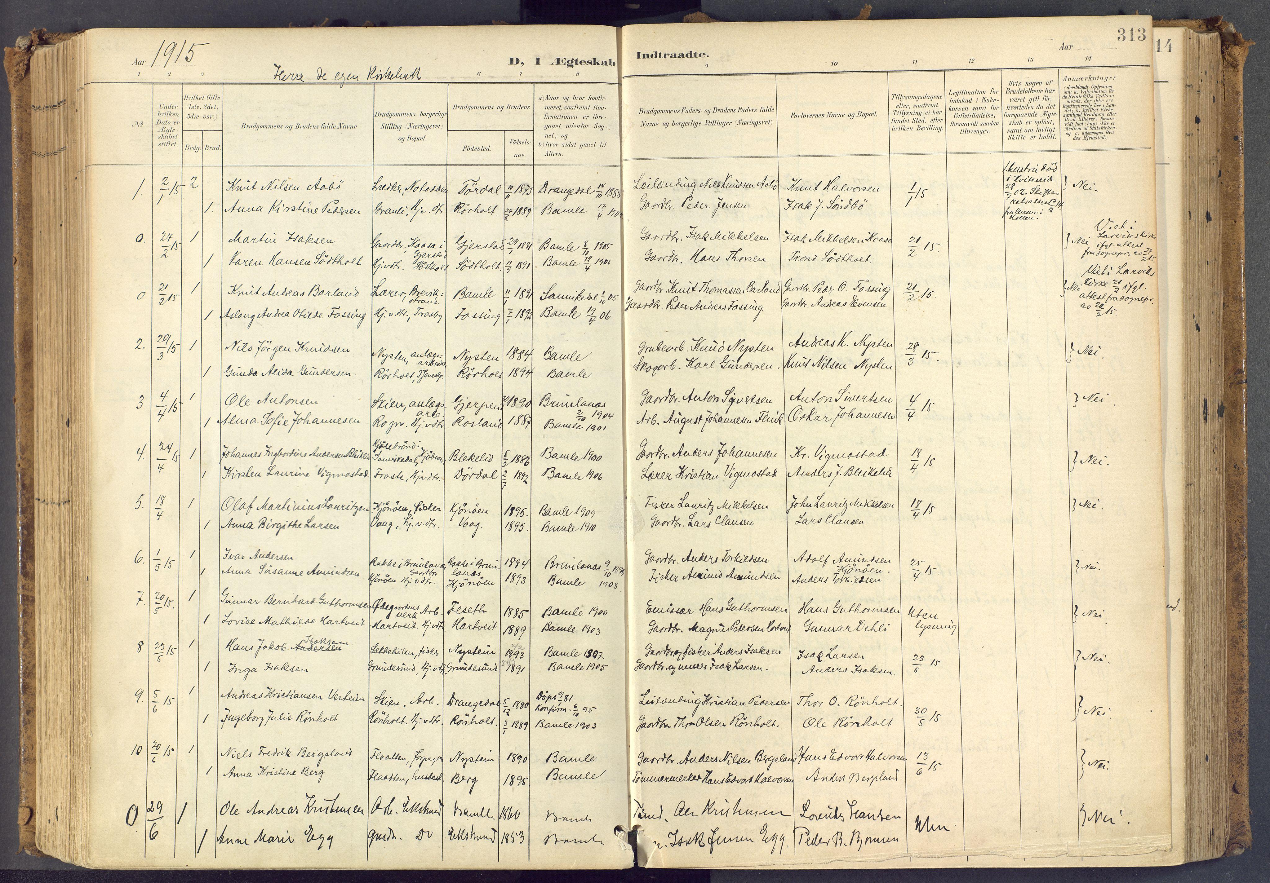 SAKO, Bamble kirkebøker, F/Fa/L0009: Ministerialbok nr. I 9, 1901-1917, s. 313