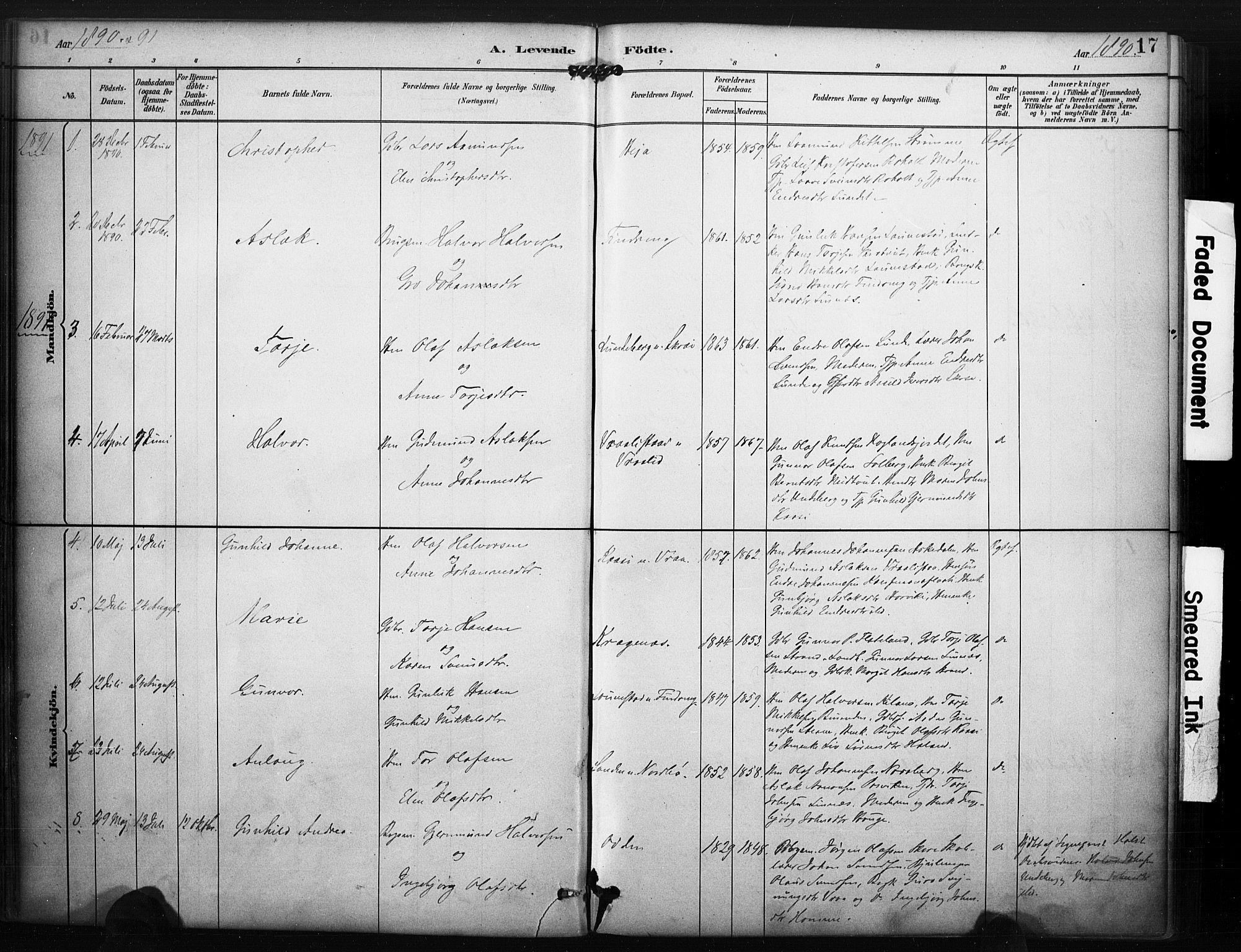 SAKO, Kviteseid kirkebøker, F/Fc/L0002: Ministerialbok nr. III 2, 1882-1908, s. 17
