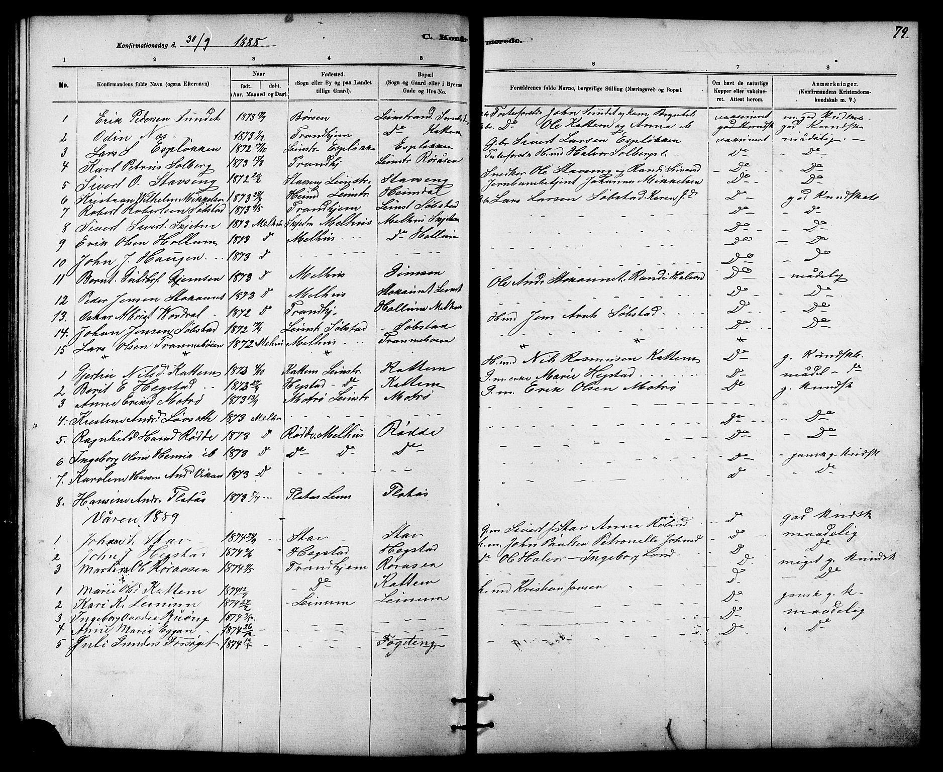 SAT, Ministerialprotokoller, klokkerbøker og fødselsregistre - Sør-Trøndelag, 613/L0395: Klokkerbok nr. 613C03, 1887-1909, s. 79