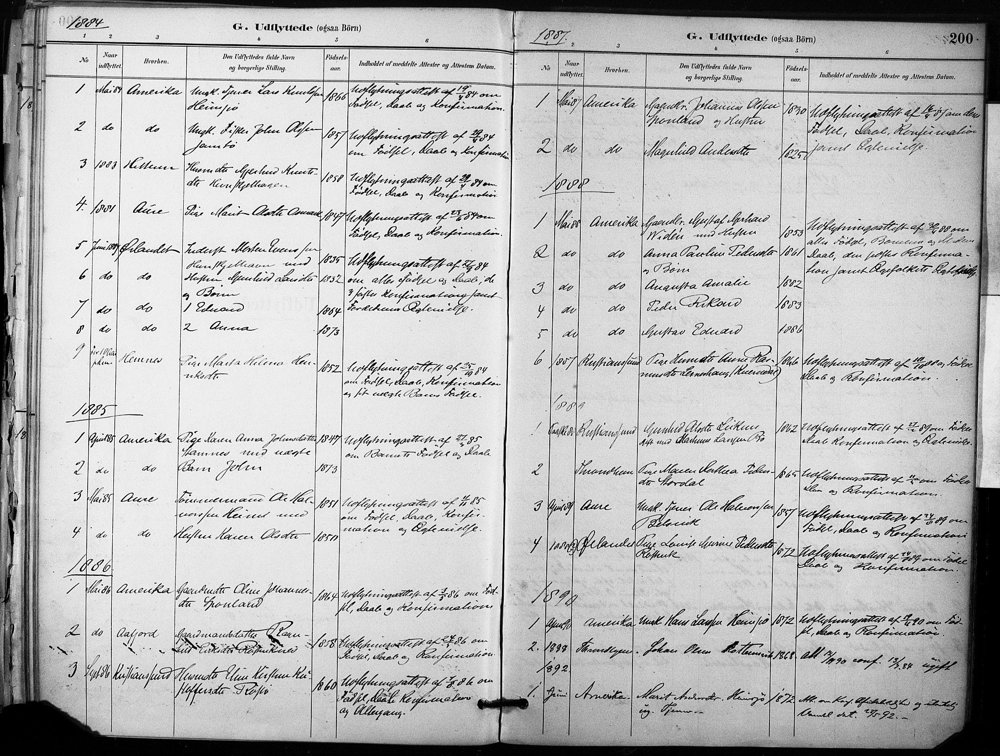 SAT, Ministerialprotokoller, klokkerbøker og fødselsregistre - Sør-Trøndelag, 633/L0518: Ministerialbok nr. 633A01, 1884-1906, s. 200