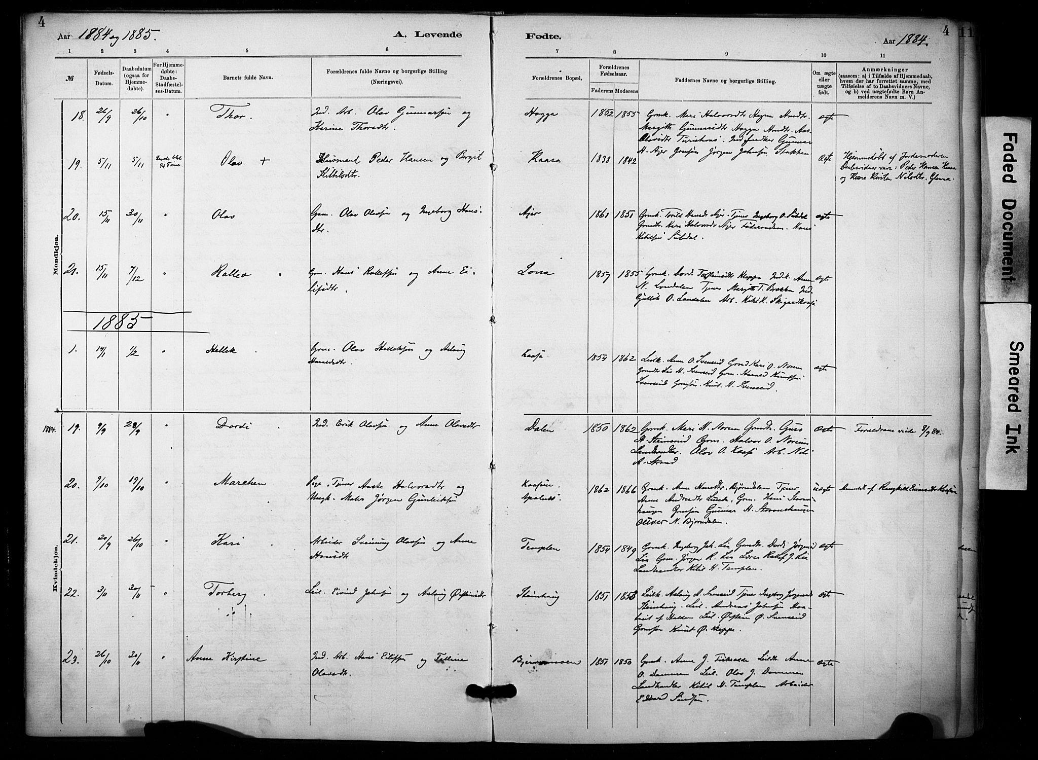 SAKO, Lunde kirkebøker, F/Fa/L0002: Ministerialbok nr. I 2, 1884-1892, s. 4