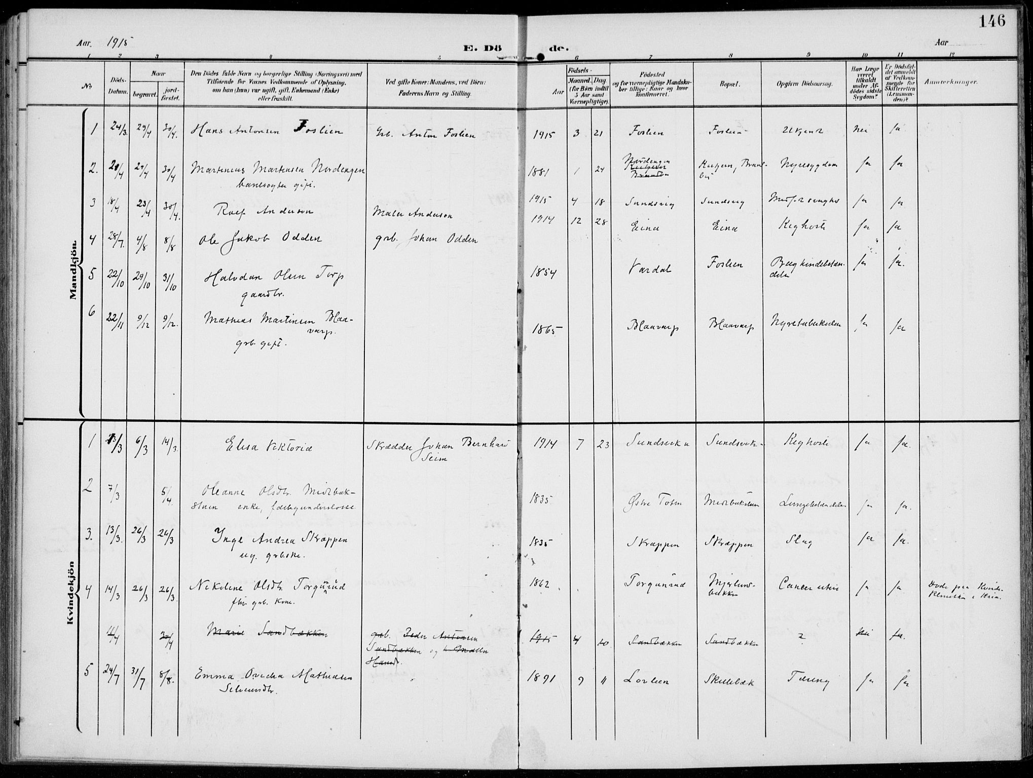SAH, Kolbu prestekontor, Ministerialbok nr. 1, 1907-1923, s. 146