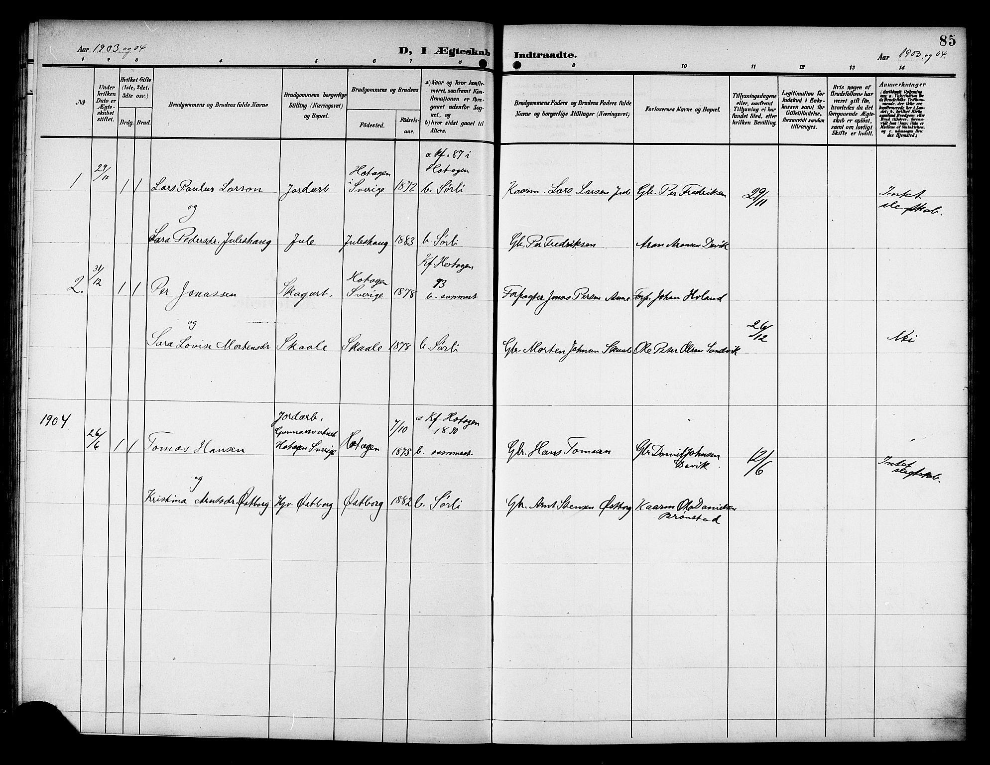 SAT, Ministerialprotokoller, klokkerbøker og fødselsregistre - Nord-Trøndelag, 757/L0506: Klokkerbok nr. 757C01, 1904-1922, s. 85