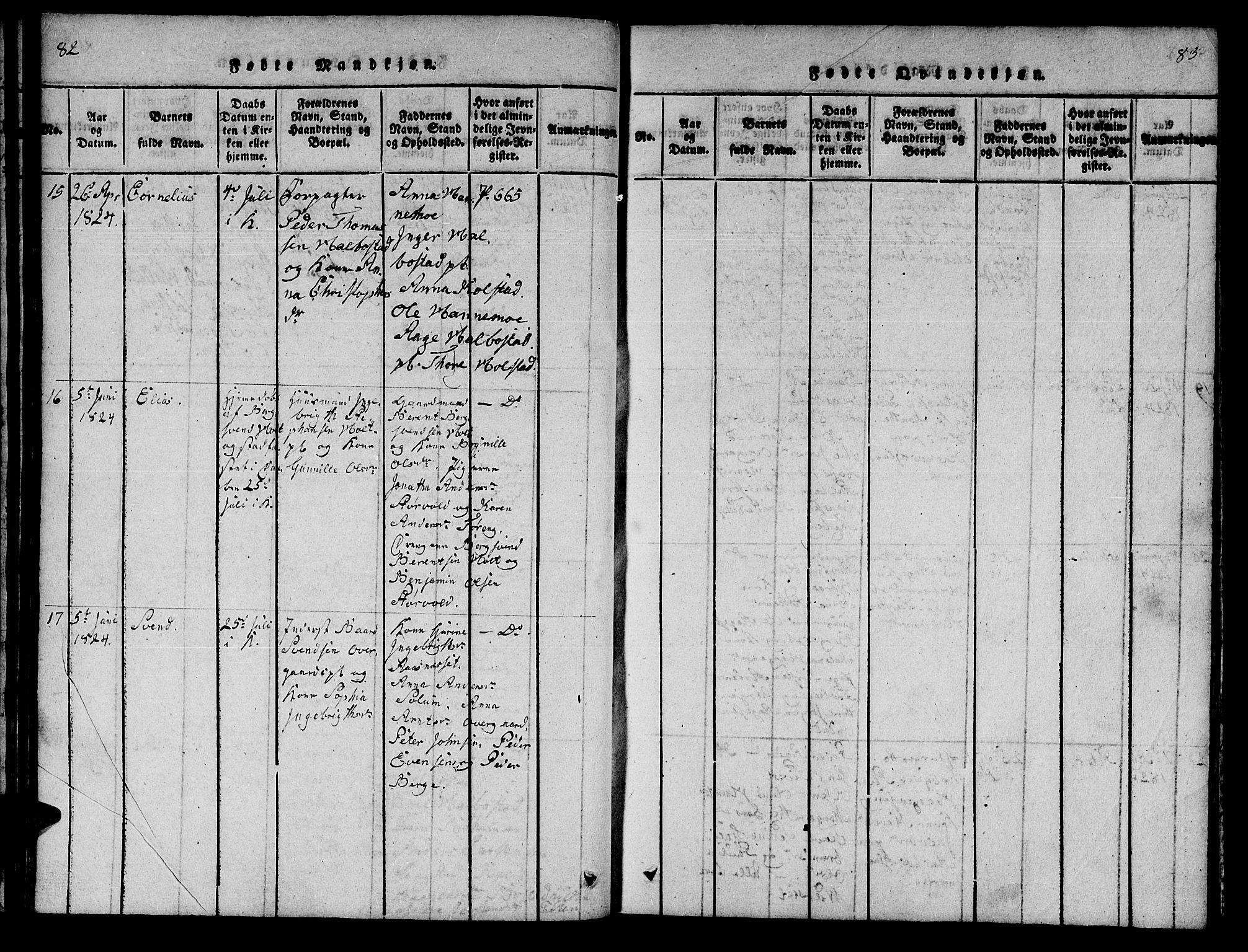 SAT, Ministerialprotokoller, klokkerbøker og fødselsregistre - Nord-Trøndelag, 742/L0411: Klokkerbok nr. 742C02, 1817-1825, s. 82-83
