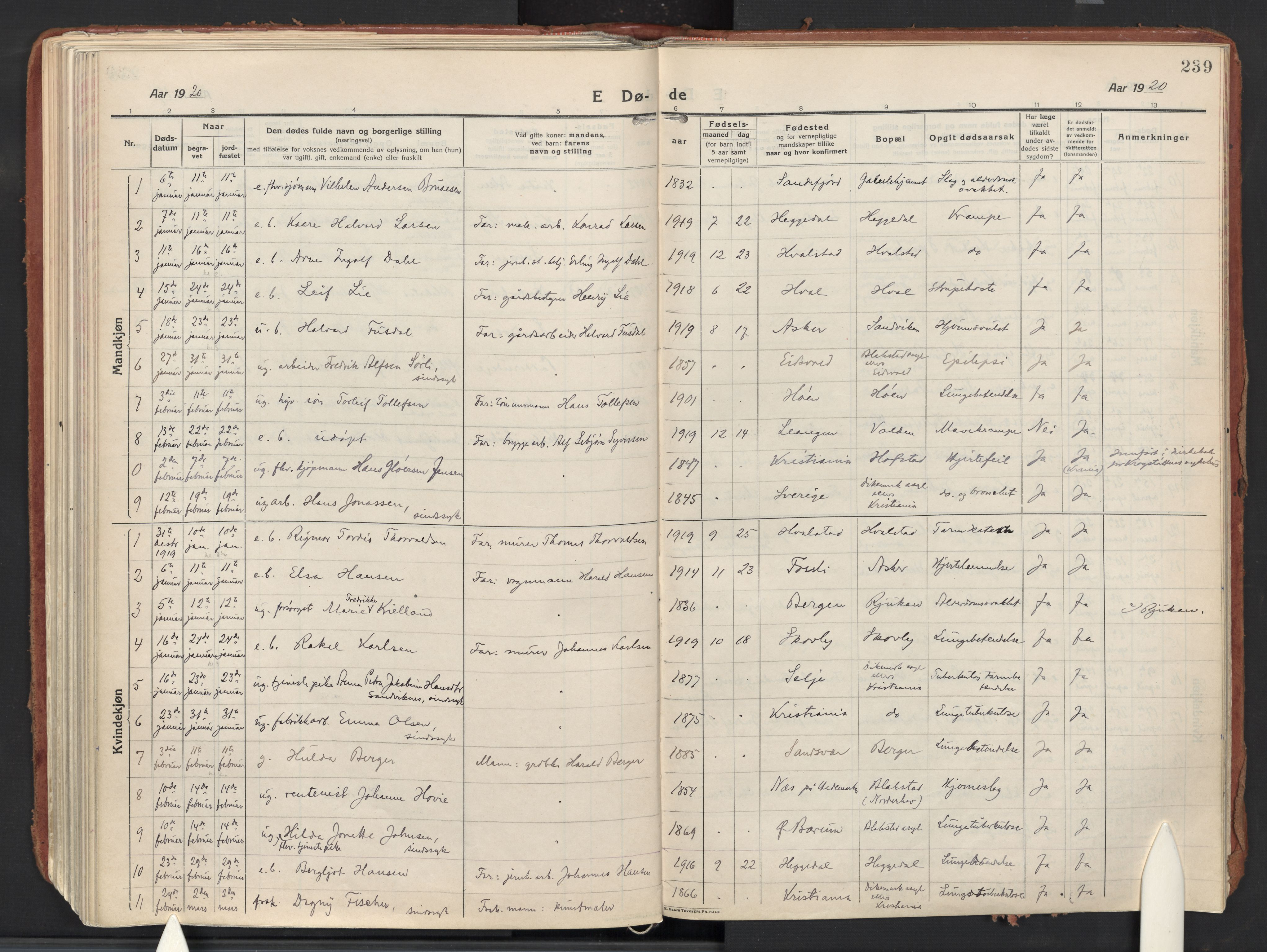 SAO, Asker prestekontor Kirkebøker, F/Fa/L0018: Ministerialbok nr. I 18, 1916-1936, s. 239
