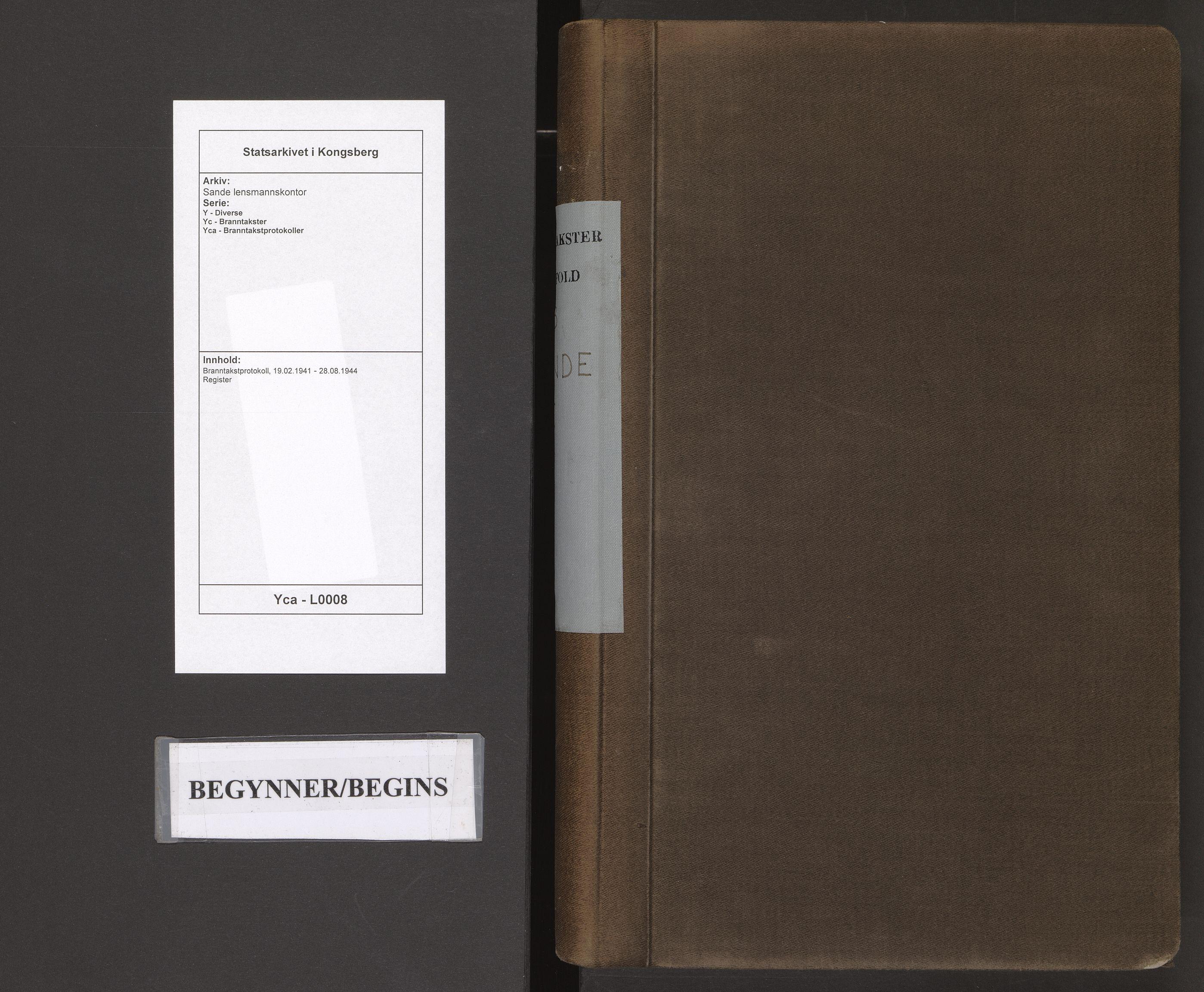 SAKO, Sande lensmannskontor, Y/Yc/Yca/L0008: Branntakstprotokoll, 1941-1944