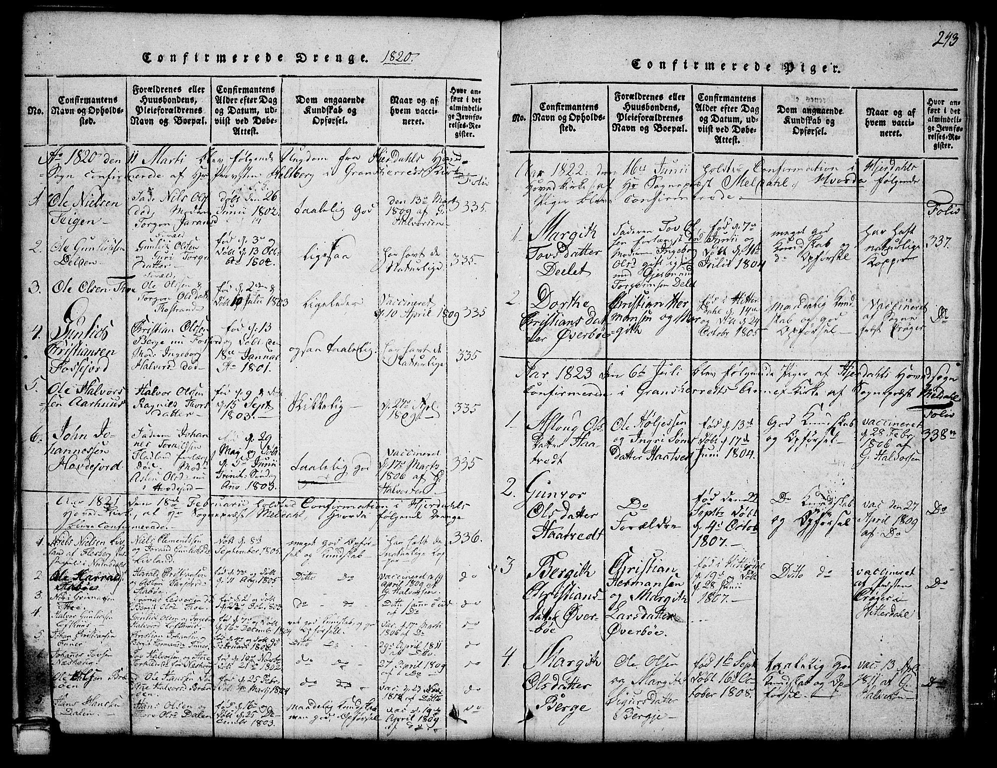 SAKO, Hjartdal kirkebøker, G/Ga/L0001: Klokkerbok nr. I 1, 1815-1842, s. 243
