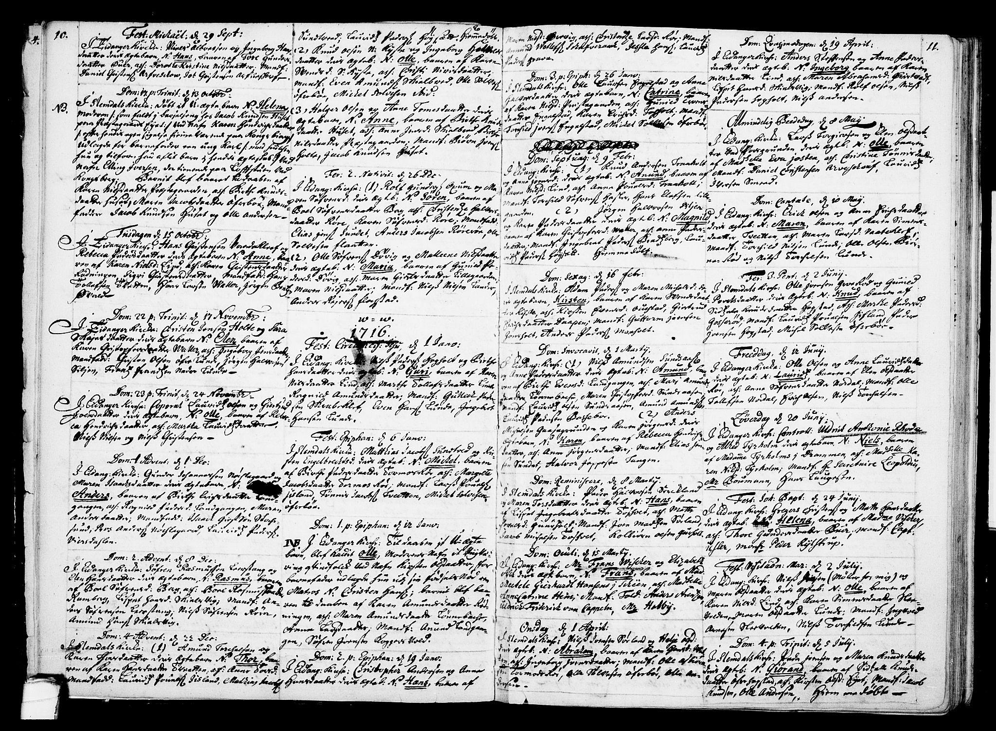 SAKO, Eidanger kirkebøker, F/Fa/L0002: Ministerialbok nr. 2, 1712-1720, s. 10-11