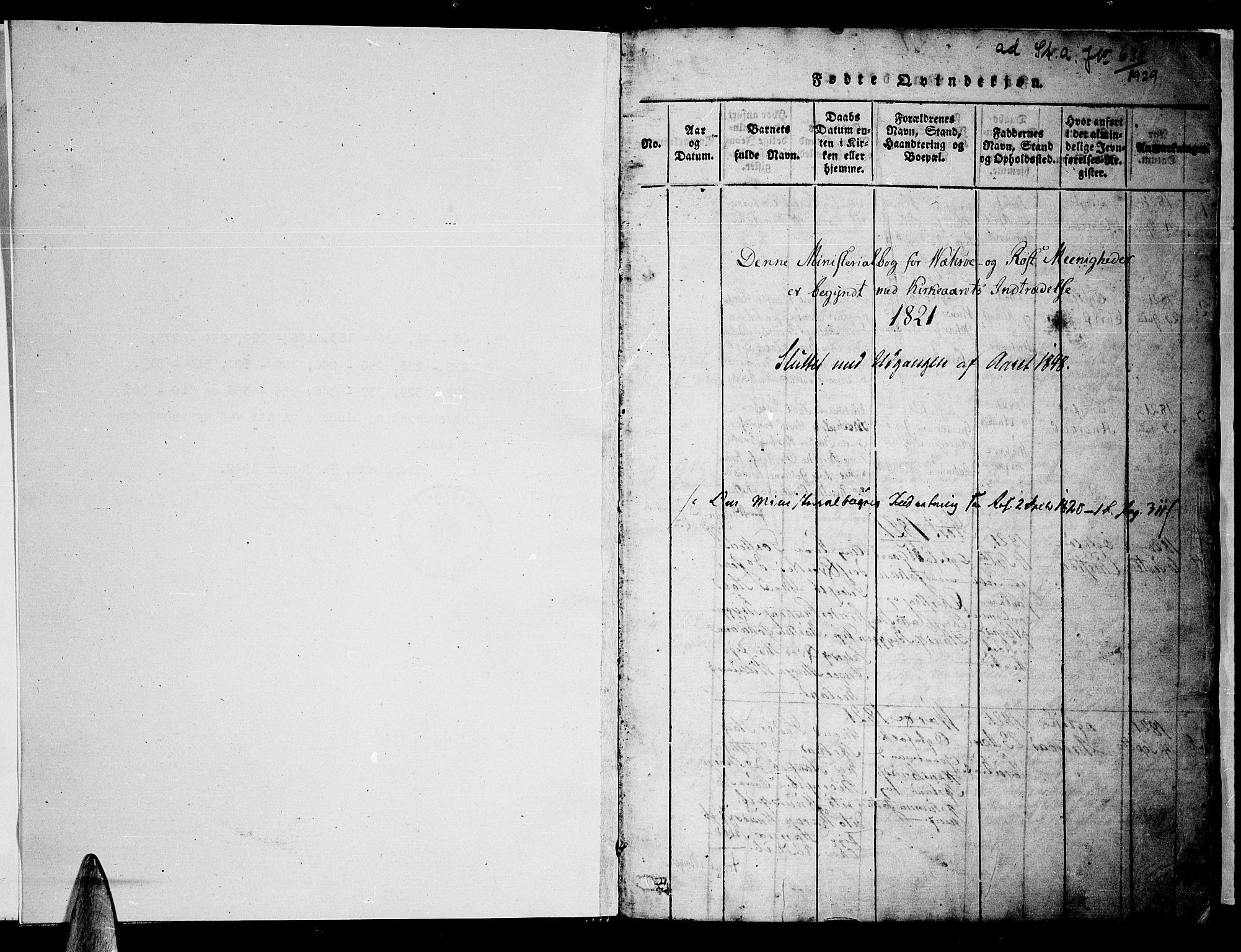 SAT, Ministerialprotokoller, klokkerbøker og fødselsregistre - Nordland, 807/L0120: Ministerialbok nr. 807A03, 1821-1848, s. 1