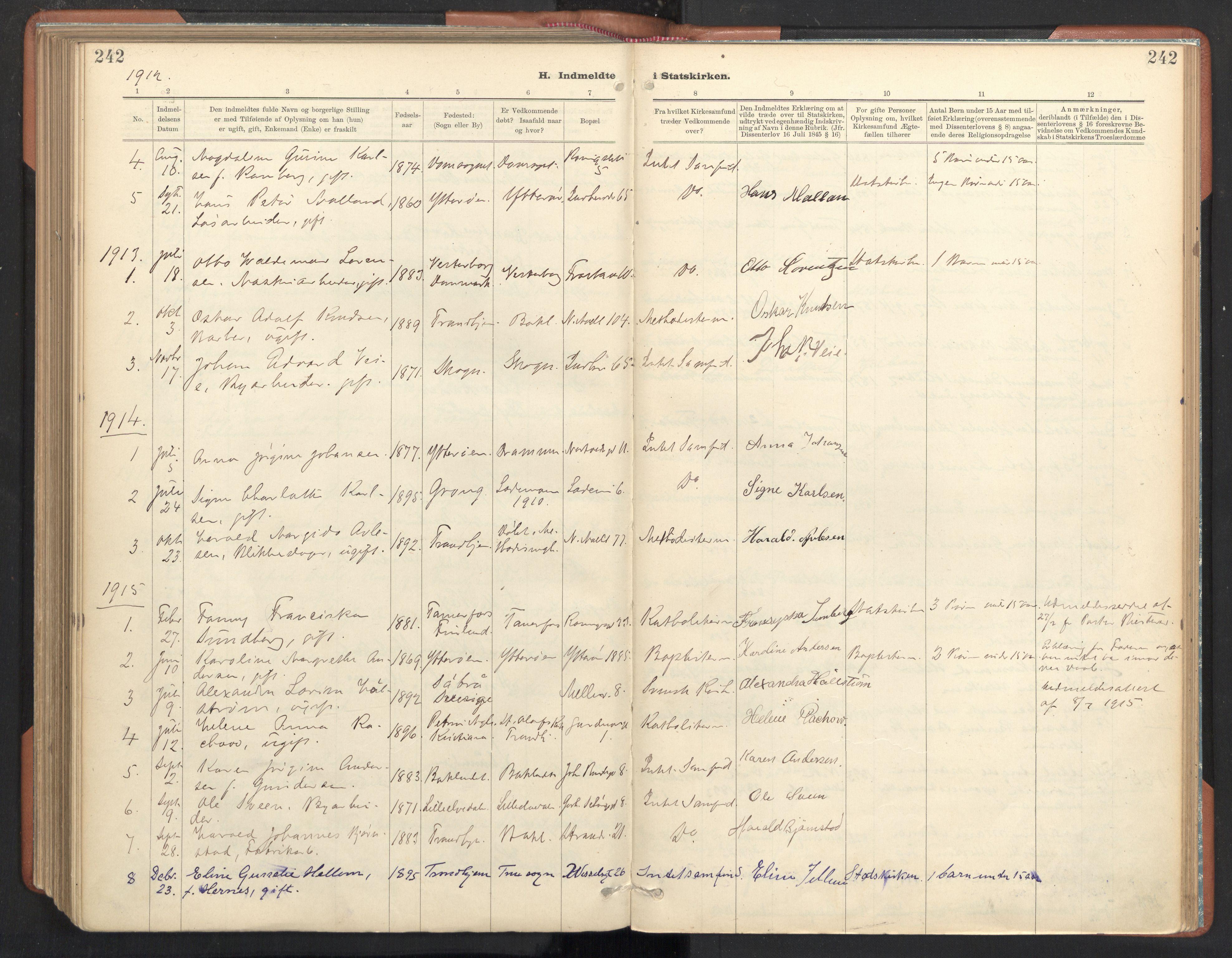 SAT, Ministerialprotokoller, klokkerbøker og fødselsregistre - Sør-Trøndelag, 605/L0244: Ministerialbok nr. 605A06, 1908-1954, s. 242