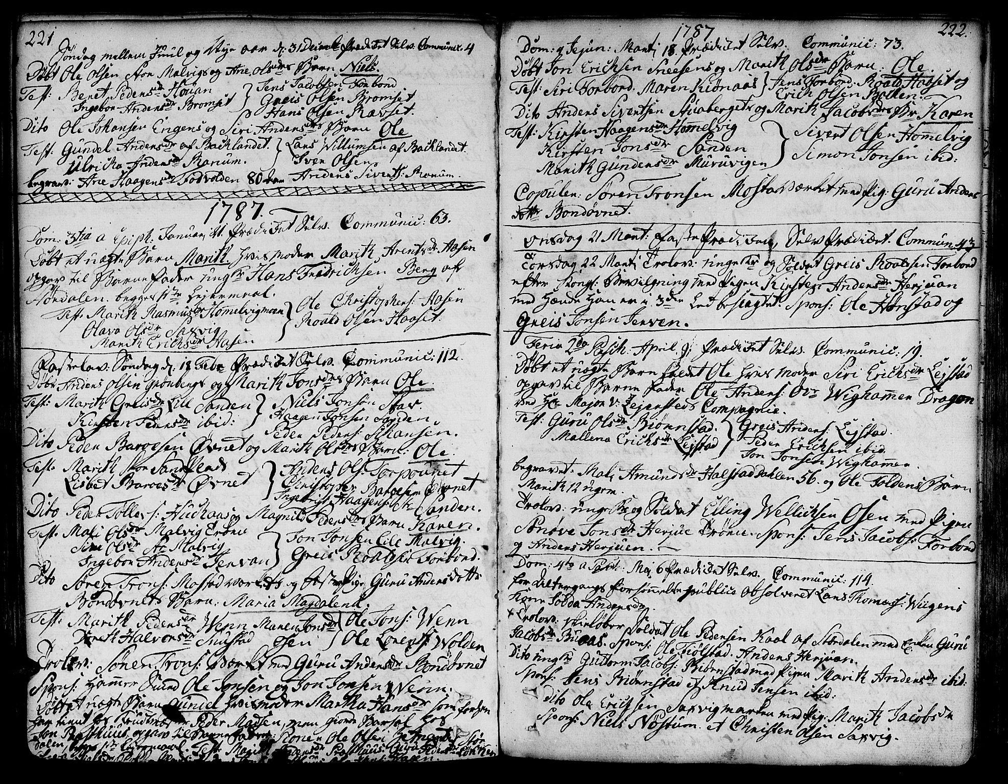 SAT, Ministerialprotokoller, klokkerbøker og fødselsregistre - Sør-Trøndelag, 606/L0281: Ministerialbok nr. 606A02 /2, 1781-1817, s. 221-222