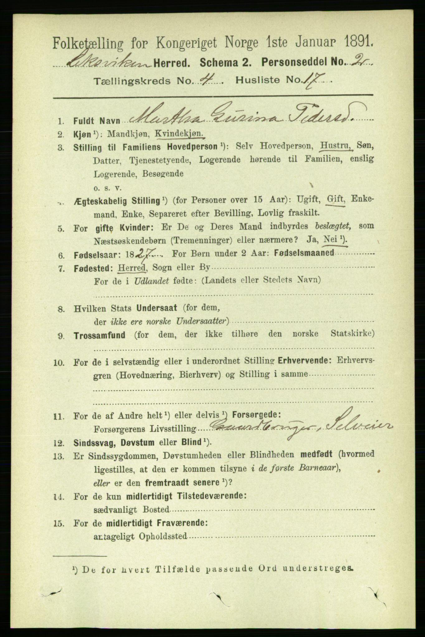 RA, Folketelling 1891 for 1718 Leksvik herred, 1891, s. 2015