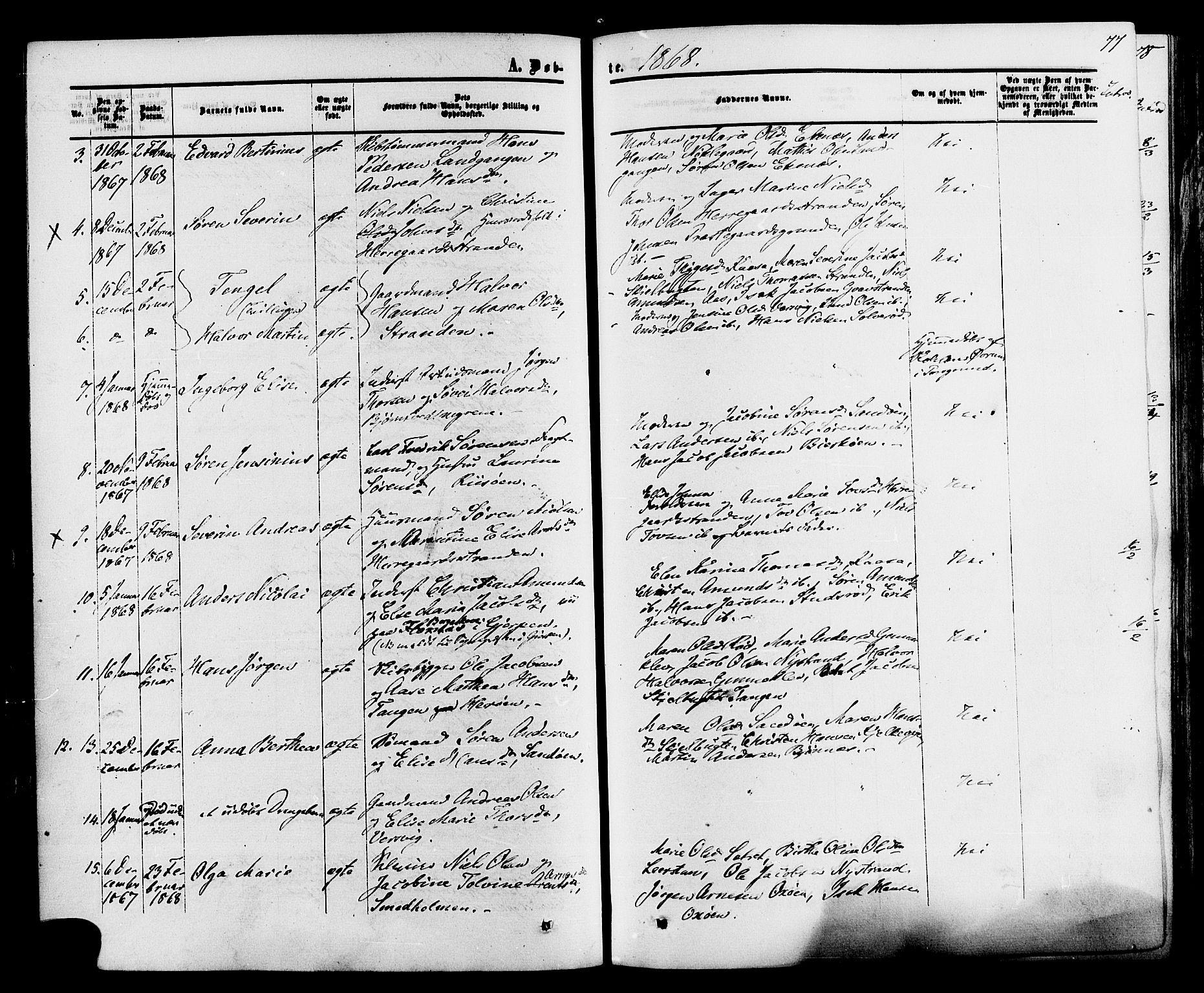 SAKO, Eidanger kirkebøker, F/Fa/L0010: Ministerialbok nr. 10, 1859-1874, s. 77
