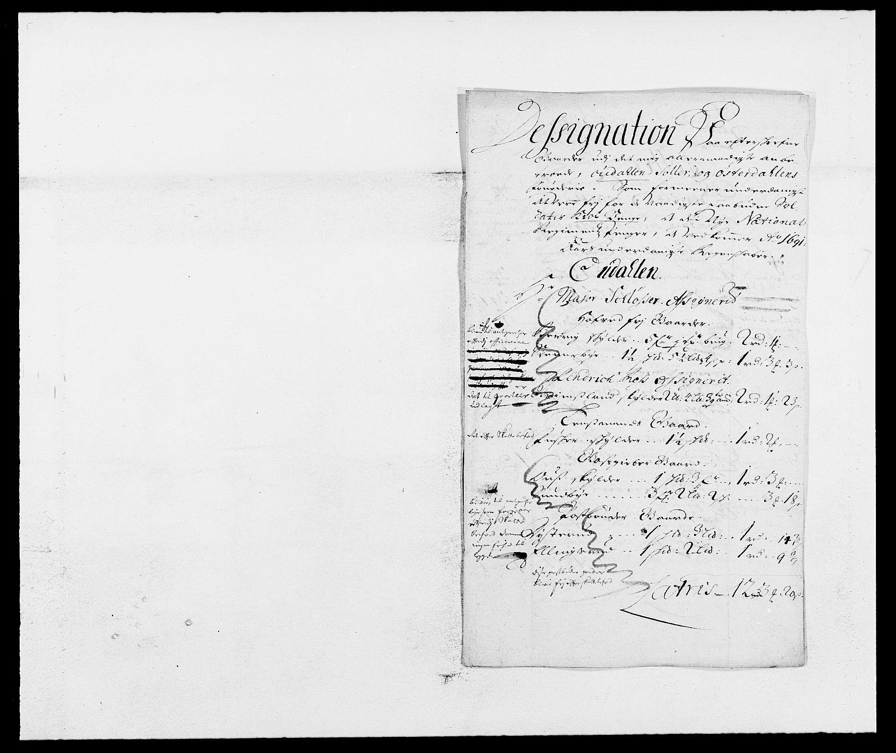 RA, Rentekammeret inntil 1814, Reviderte regnskaper, Fogderegnskap, R13/L0829: Fogderegnskap Solør, Odal og Østerdal, 1691, s. 117