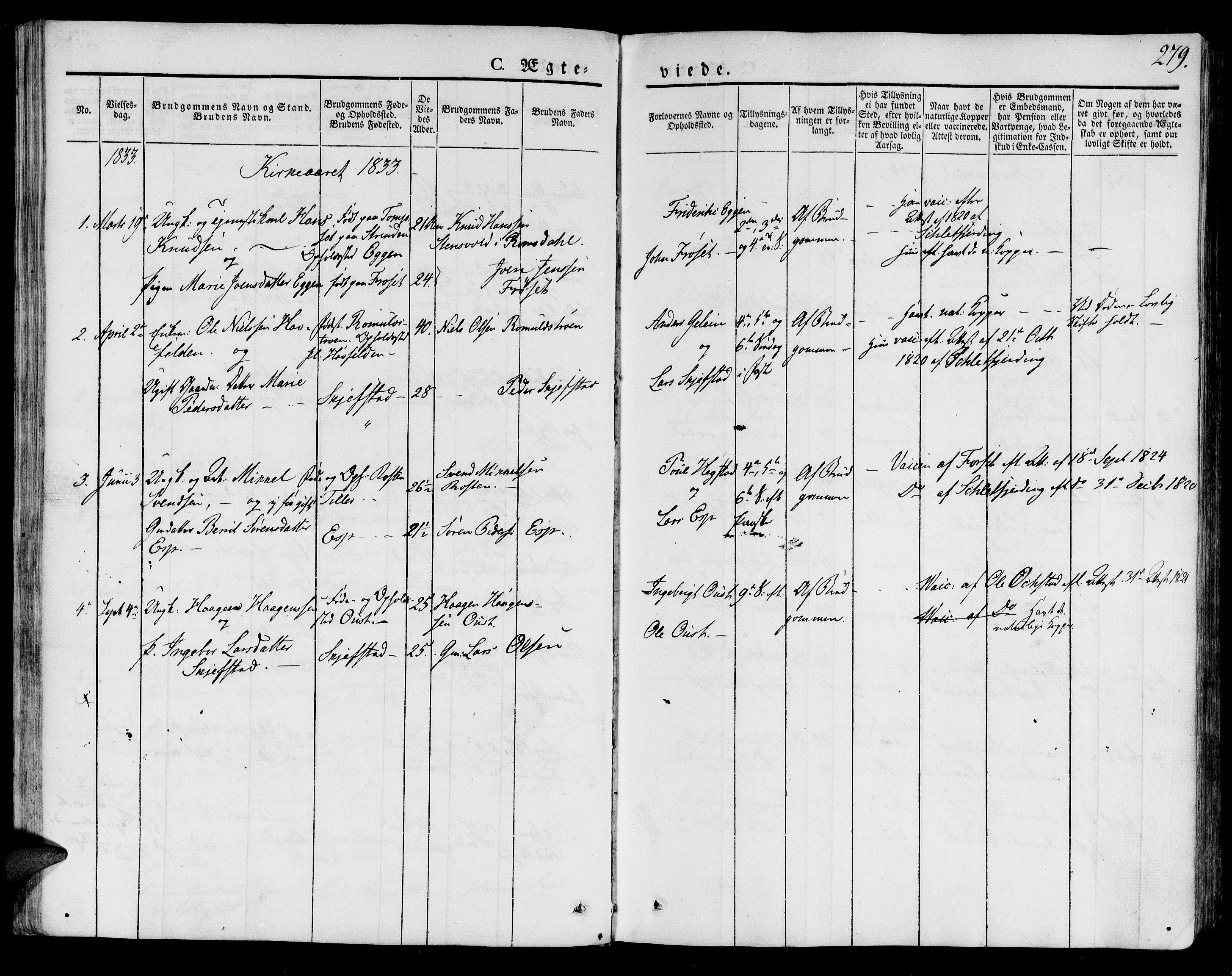 SAT, Ministerialprotokoller, klokkerbøker og fødselsregistre - Sør-Trøndelag, 691/L1071: Ministerialbok nr. 691A05 /2, 1826-1841, s. 279