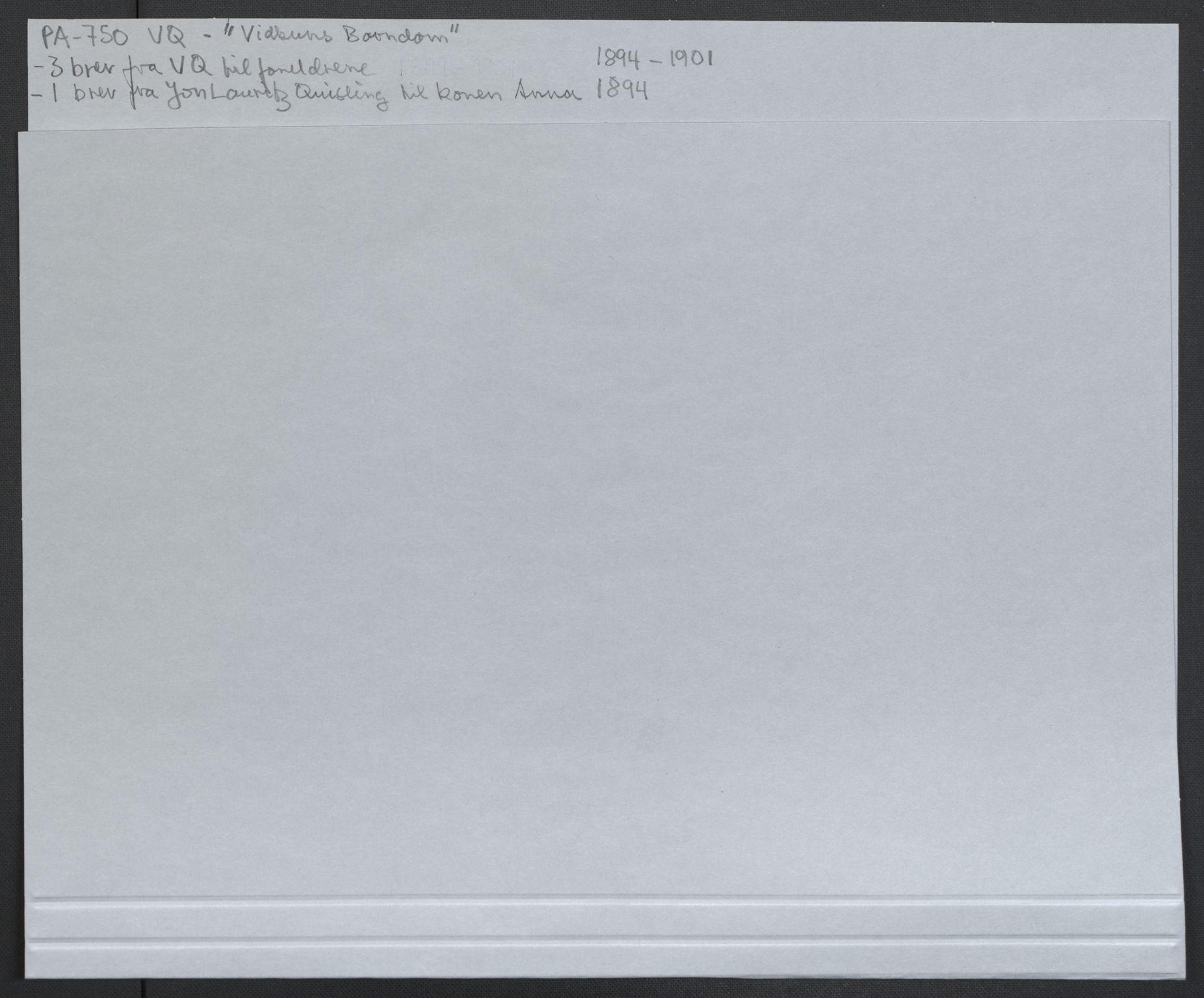RA, Quisling, Vidkun, K/L0001: Brev til og fra Vidkun Quisling samt til og fra andre medlemmer av familien Quisling + karakterbøker, 1894-1929, s. 2