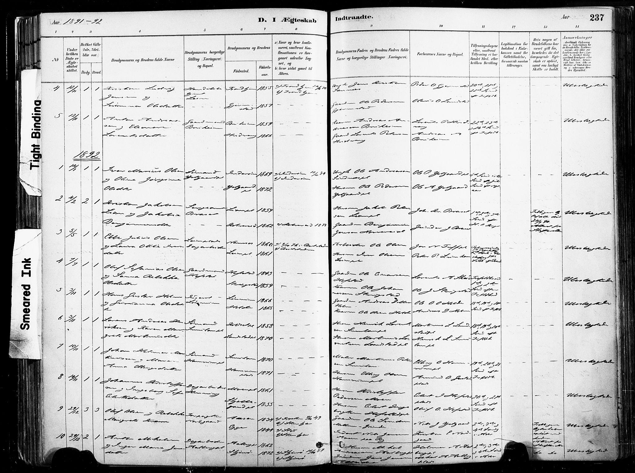 SAT, Ministerialprotokoller, klokkerbøker og fødselsregistre - Nord-Trøndelag, 735/L0351: Ministerialbok nr. 735A10, 1884-1908, s. 237