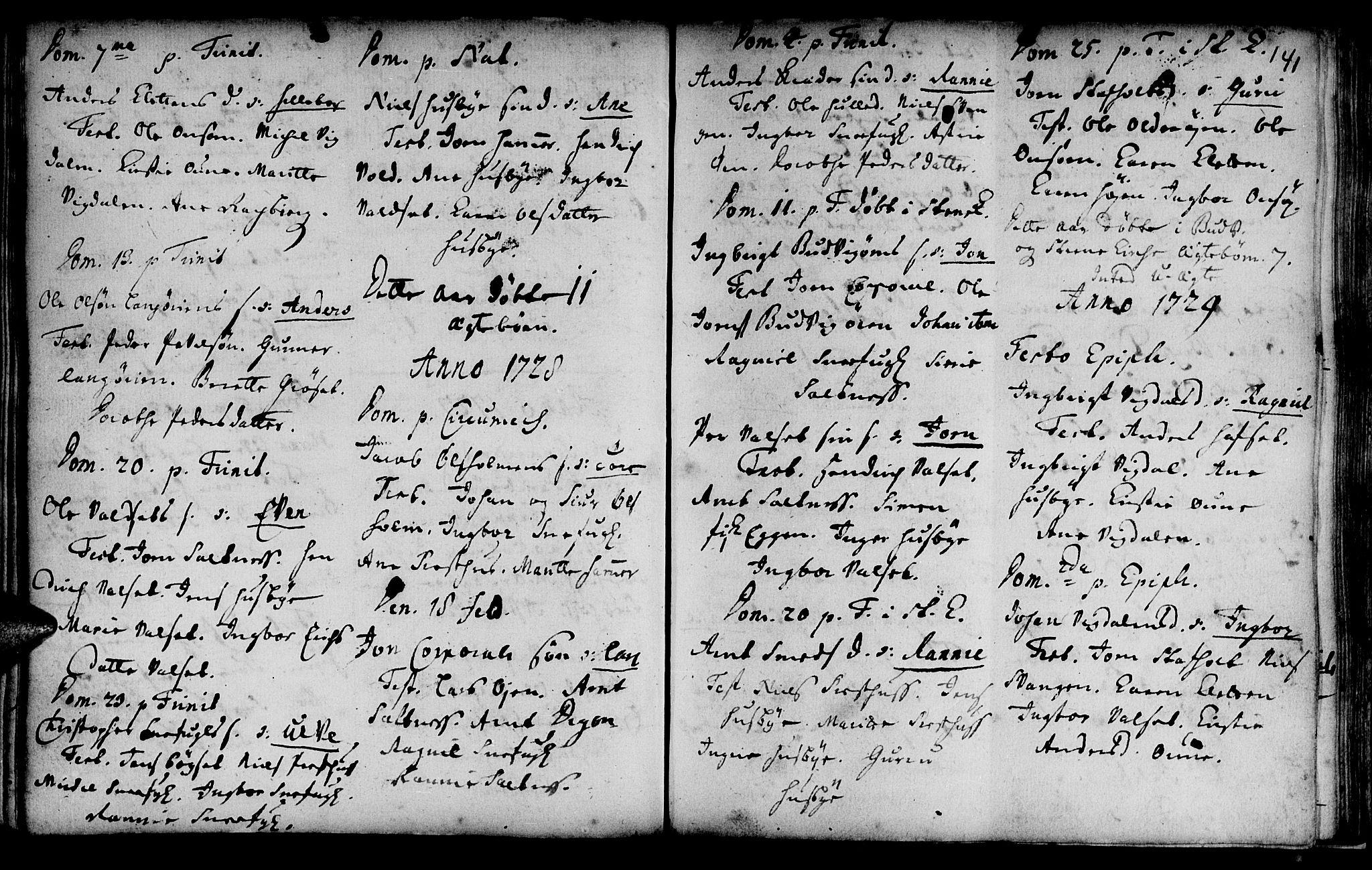 SAT, Ministerialprotokoller, klokkerbøker og fødselsregistre - Sør-Trøndelag, 666/L0783: Ministerialbok nr. 666A01, 1702-1753, s. 141