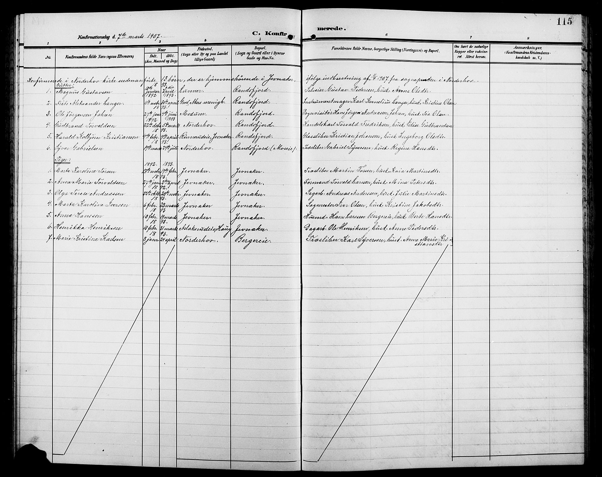 SAH, Jevnaker prestekontor, Klokkerbok nr. 4, 1907-1918, s. 115