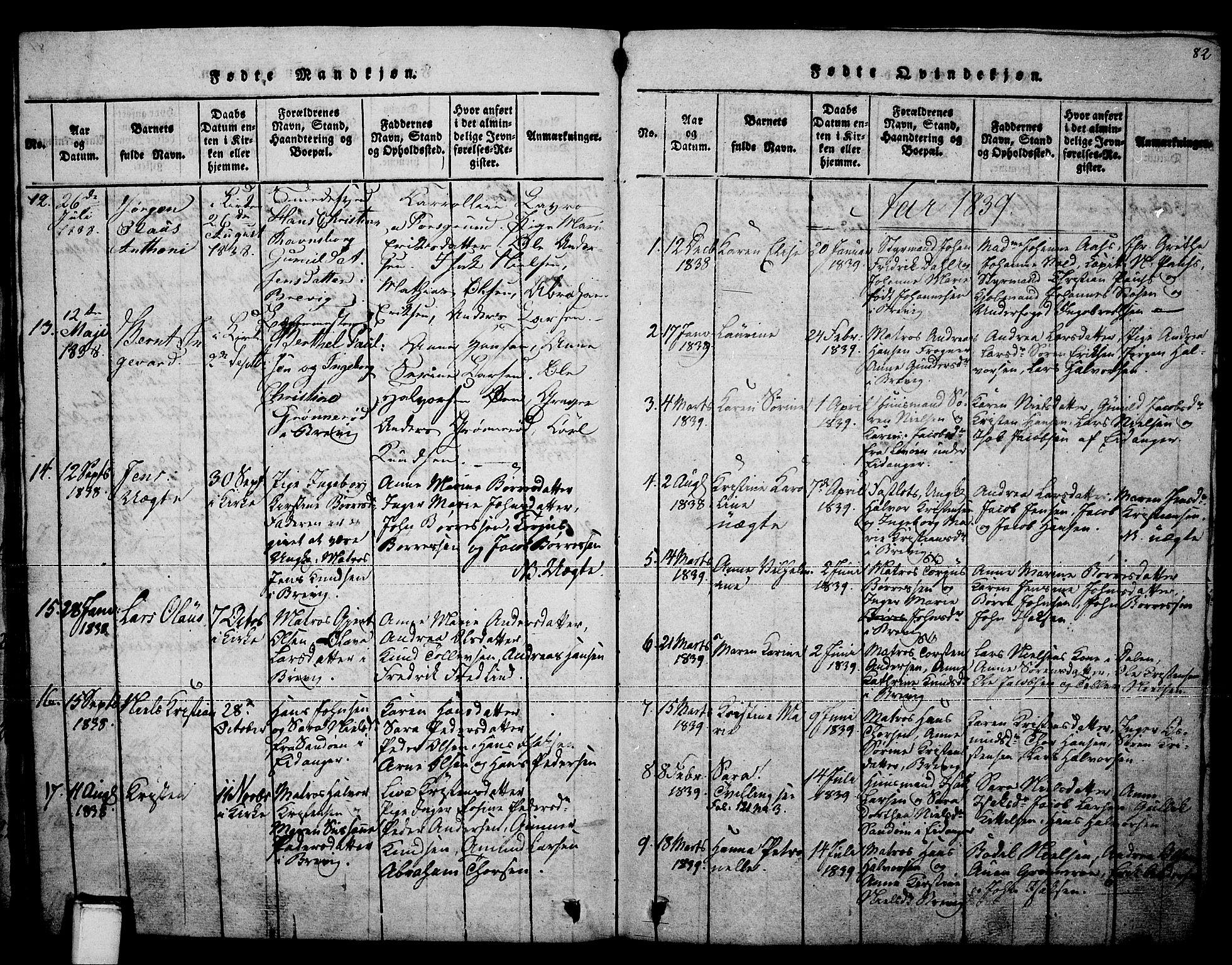 SAKO, Brevik kirkebøker, F/Fa/L0004: Ministerialbok nr. 4, 1814-1846, s. 82