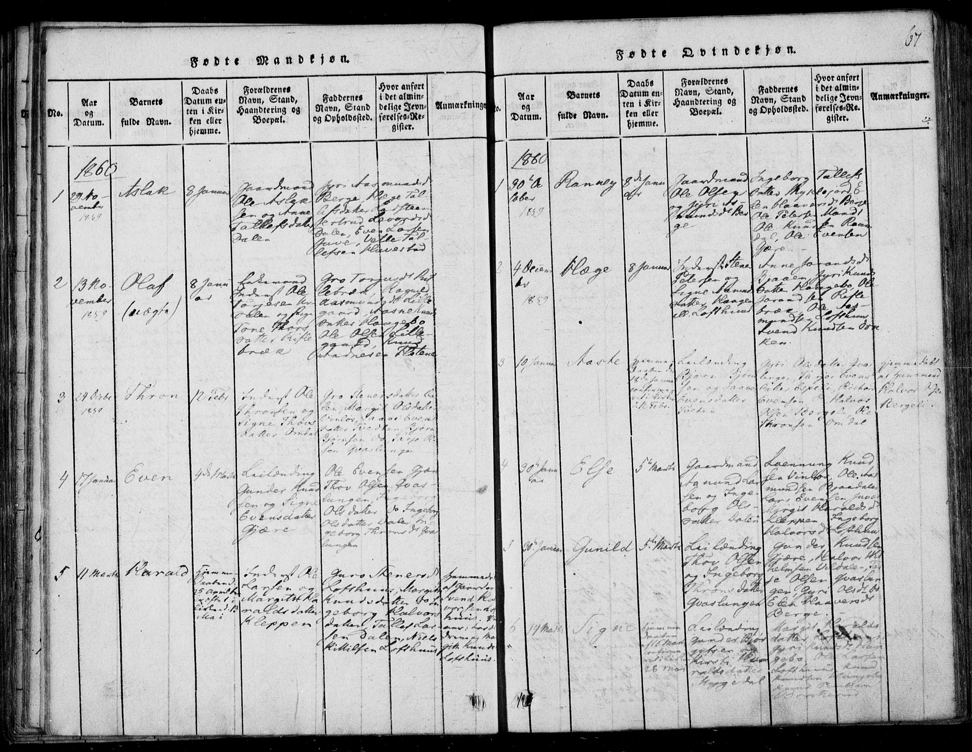 SAKO, Lårdal kirkebøker, F/Fb/L0001: Ministerialbok nr. II 1, 1815-1860, s. 67