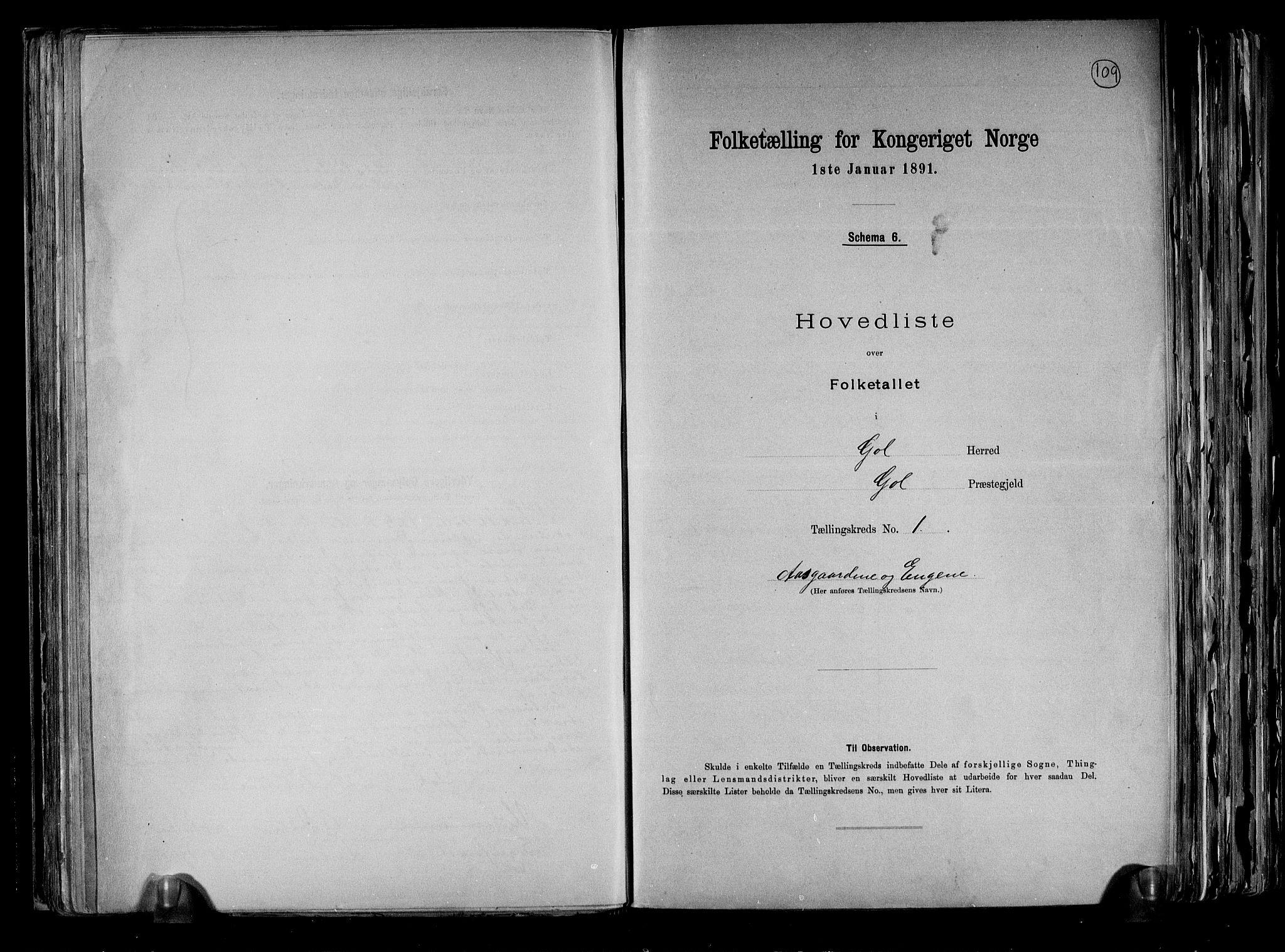RA, Folketelling 1891 for 0617 Gol og Hemsedal herred, 1891, s. 4