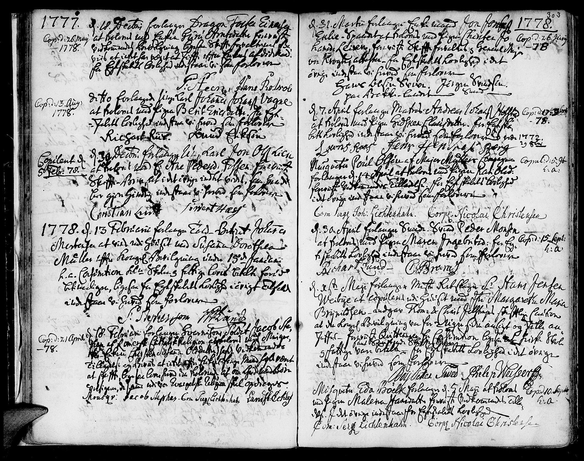 SAT, Ministerialprotokoller, klokkerbøker og fødselsregistre - Sør-Trøndelag, 601/L0038: Ministerialbok nr. 601A06, 1766-1877, s. 303