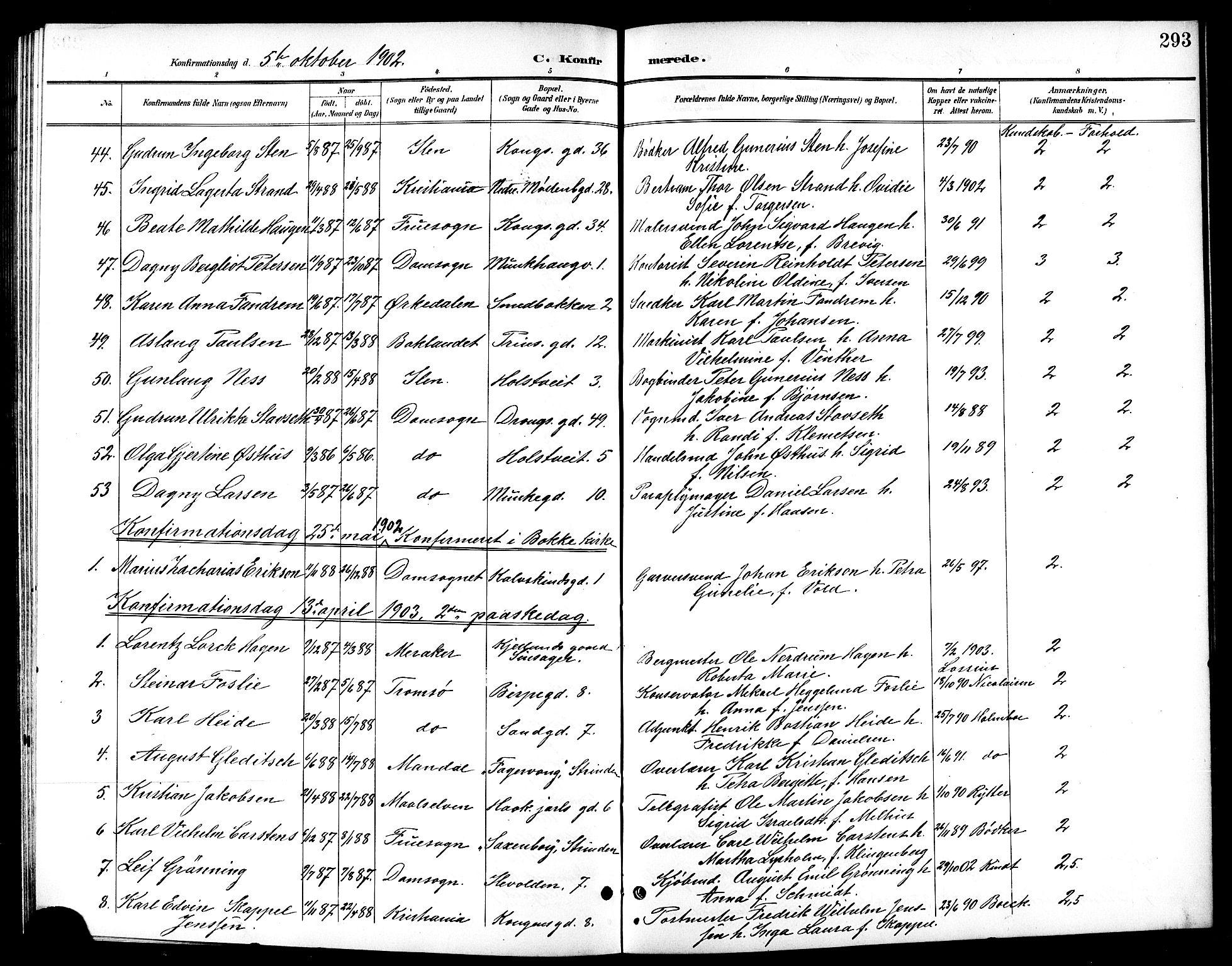 SAT, Ministerialprotokoller, klokkerbøker og fødselsregistre - Sør-Trøndelag, 601/L0094: Klokkerbok nr. 601C12, 1898-1911, s. 293