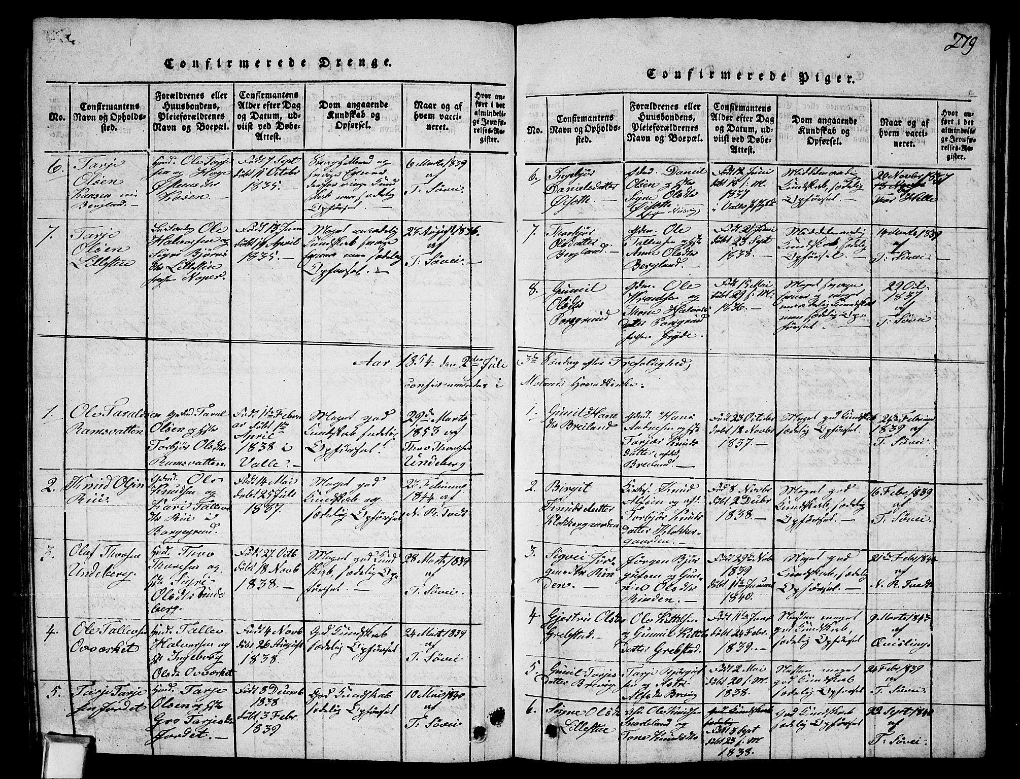 SAKO, Fyresdal kirkebøker, G/Ga/L0002: Klokkerbok nr. I 2, 1815-1857, s. 279