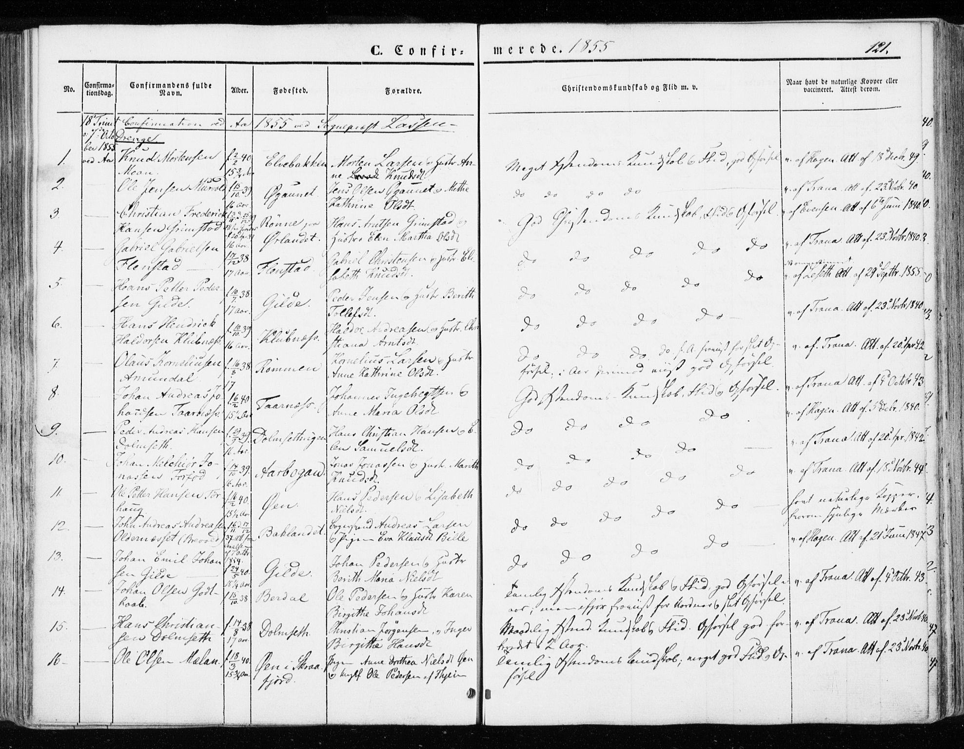 SAT, Ministerialprotokoller, klokkerbøker og fødselsregistre - Sør-Trøndelag, 655/L0677: Ministerialbok nr. 655A06, 1847-1860, s. 121