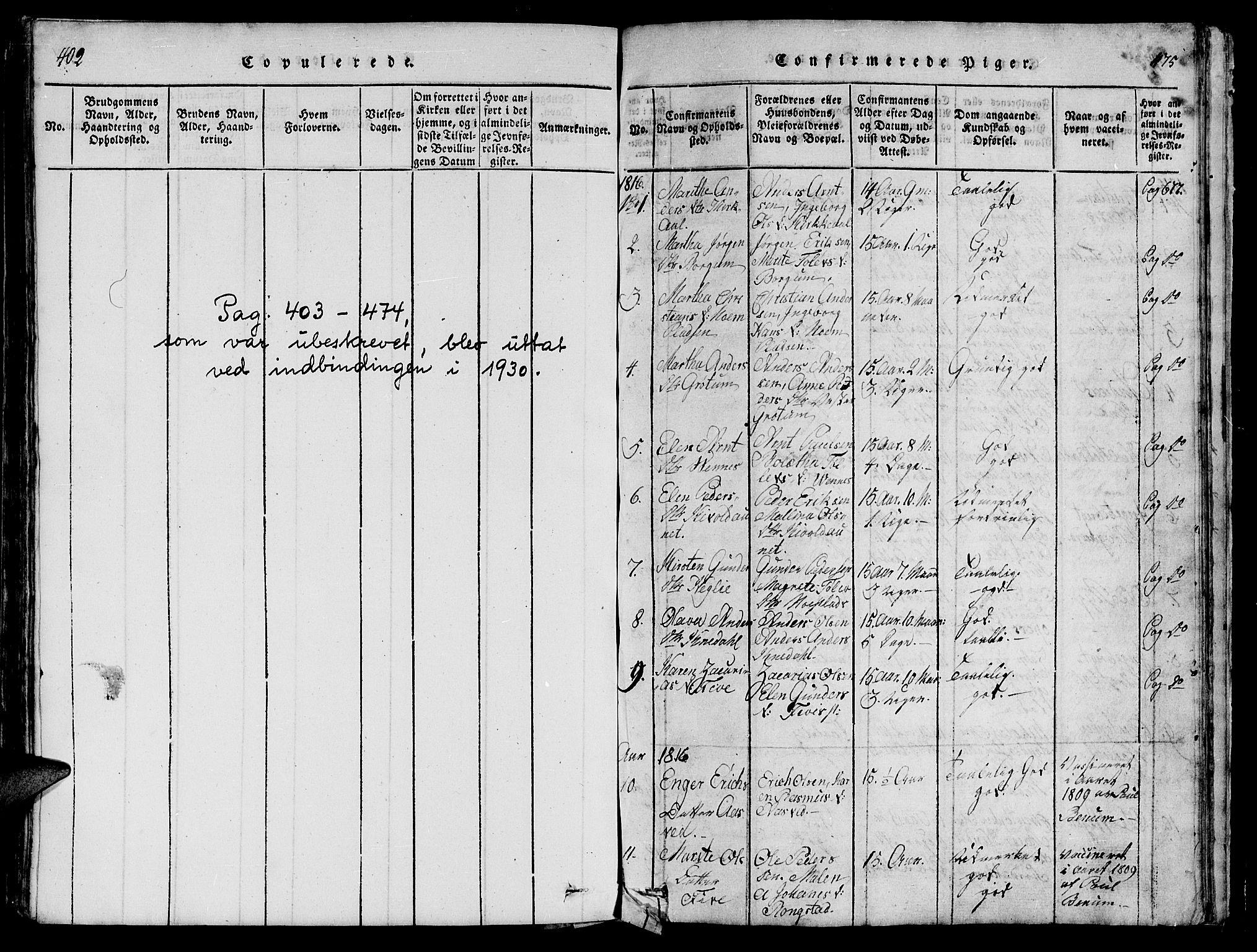 SAT, Ministerialprotokoller, klokkerbøker og fødselsregistre - Nord-Trøndelag, 747/L0459: Klokkerbok nr. 747C01, 1816-1842, s. 402-475