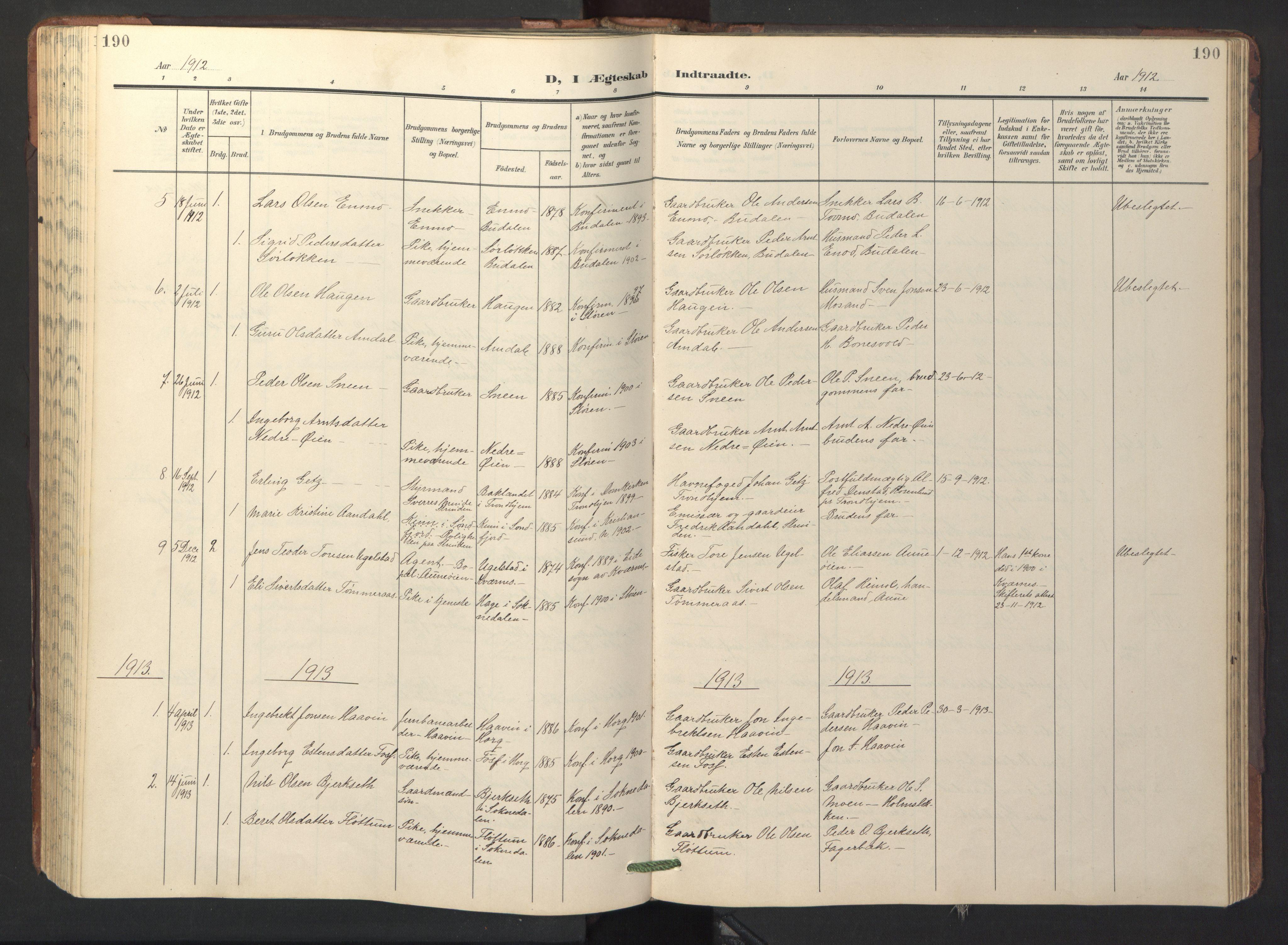 SAT, Ministerialprotokoller, klokkerbøker og fødselsregistre - Sør-Trøndelag, 687/L1019: Klokkerbok nr. 687C03, 1904-1931, s. 190