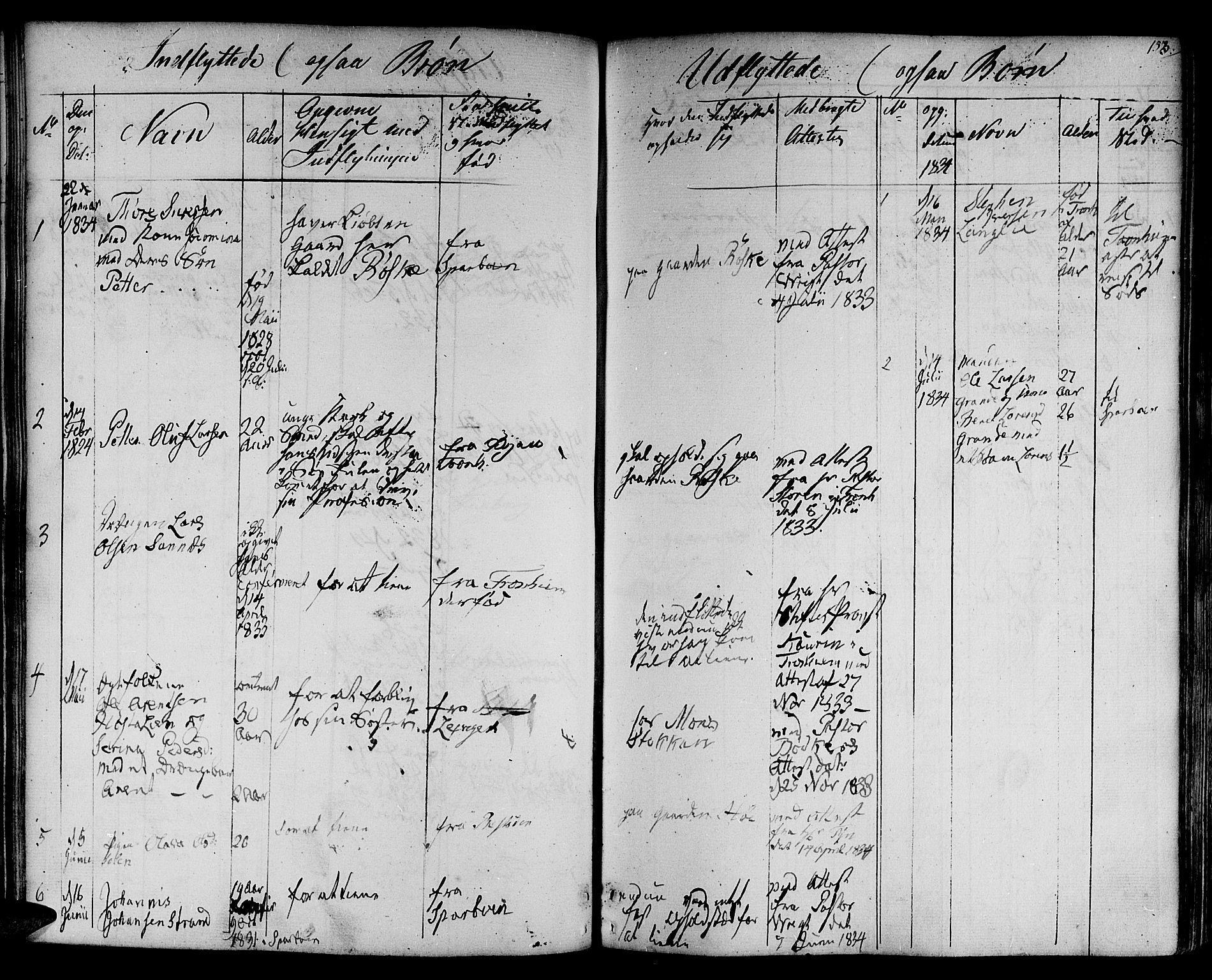 SAT, Ministerialprotokoller, klokkerbøker og fødselsregistre - Nord-Trøndelag, 730/L0277: Ministerialbok nr. 730A06 /1, 1830-1839, s. 153