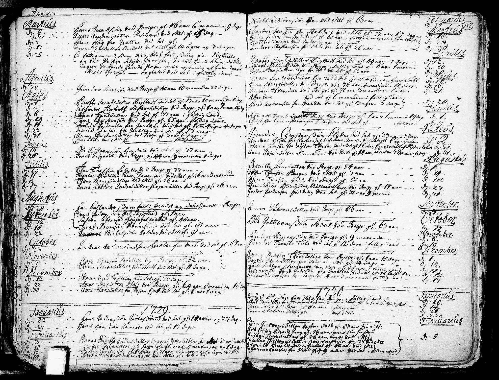 SAKO, Solum kirkebøker, F/Fa/L0002: Ministerialbok nr. I 2, 1713-1761, s. 153