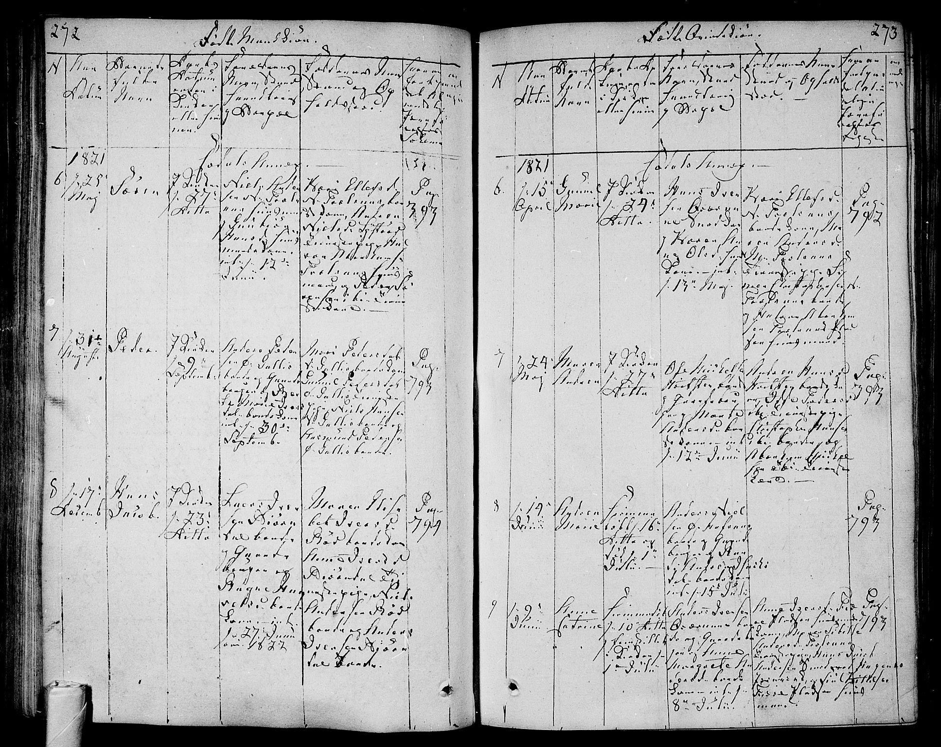 SAKO, Andebu kirkebøker, F/Fa/L0003: Ministerialbok nr. 3 /3, 1815-1828, s. 272-273