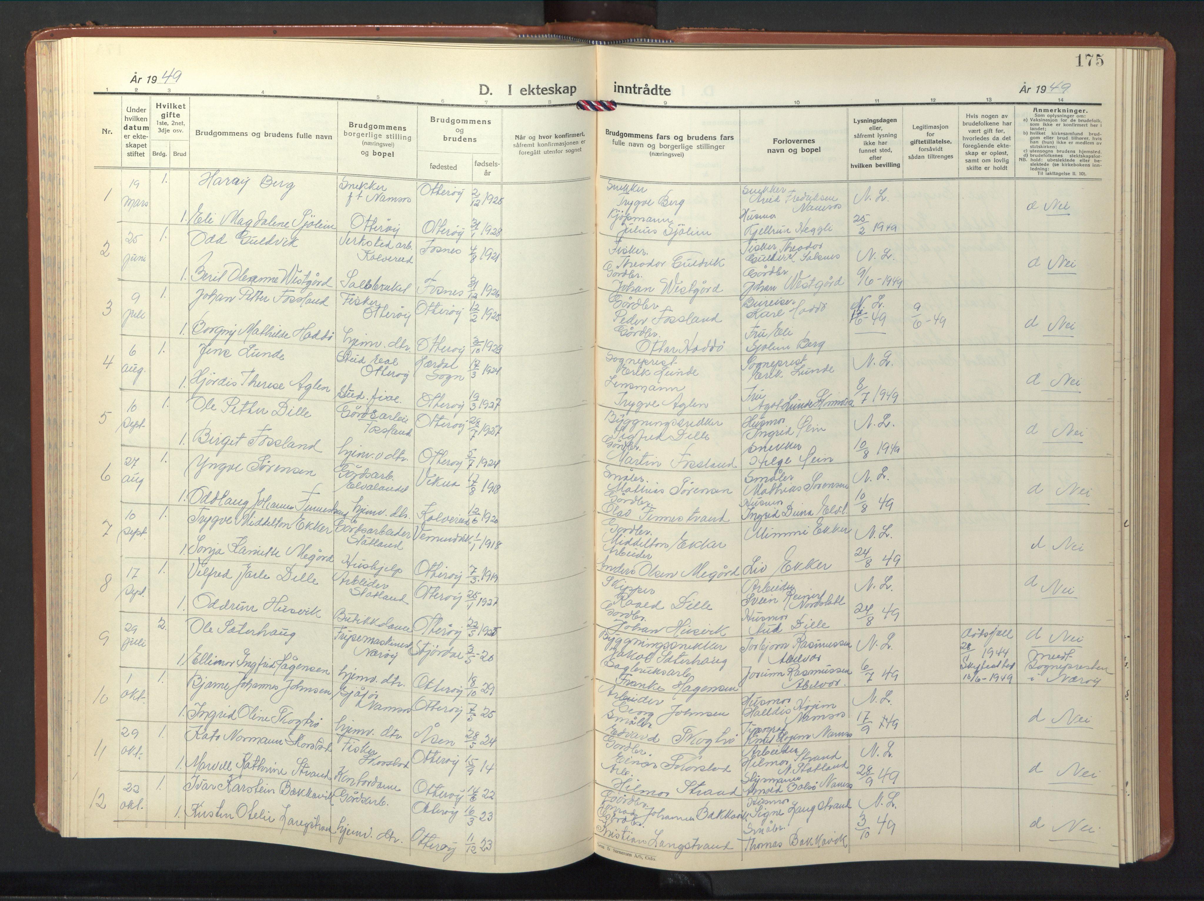 SAT, Ministerialprotokoller, klokkerbøker og fødselsregistre - Nord-Trøndelag, 774/L0631: Klokkerbok nr. 774C02, 1934-1950, s. 175