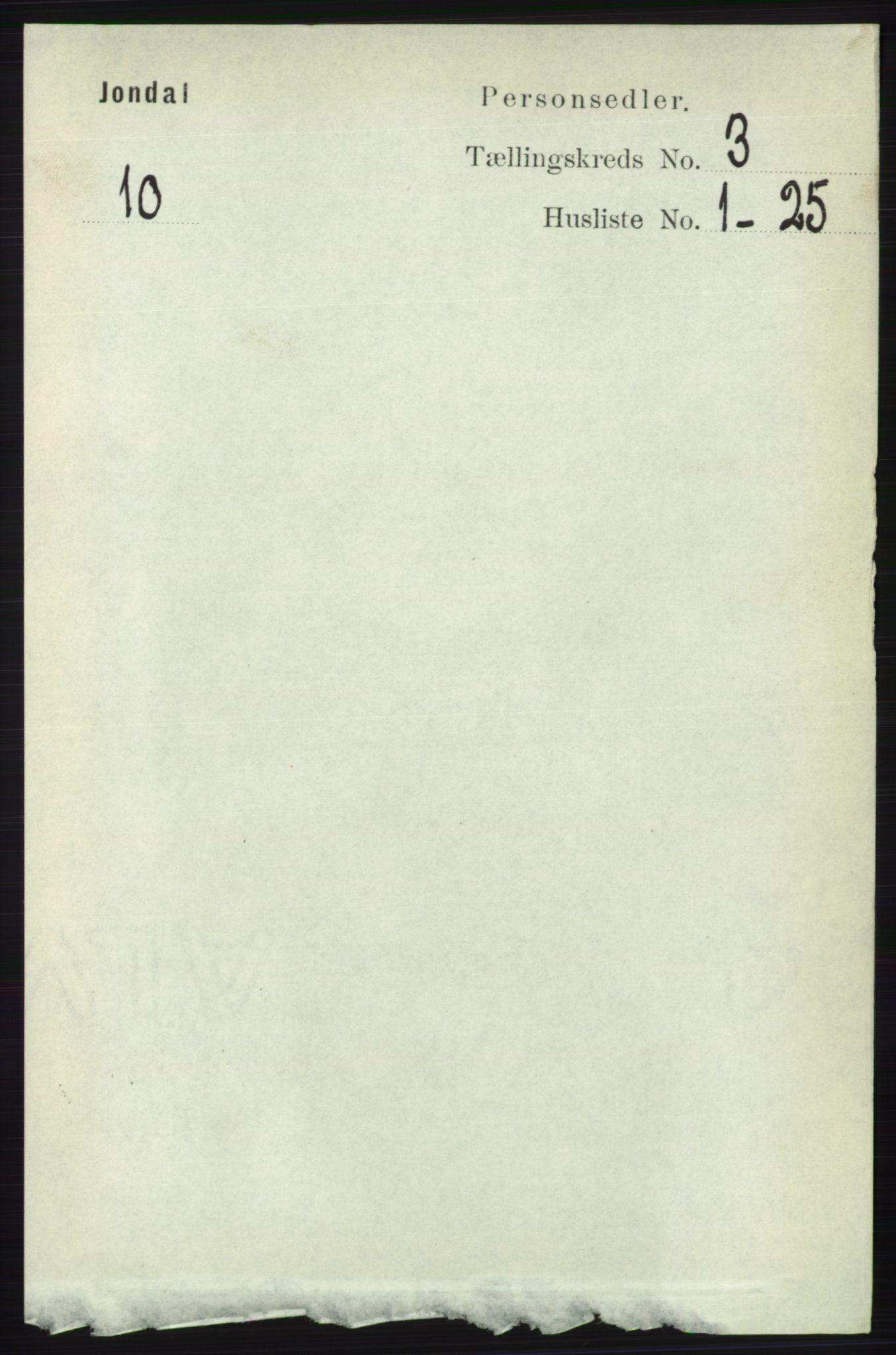 RA, Folketelling 1891 for 1227 Jondal herred, 1891, s. 1299