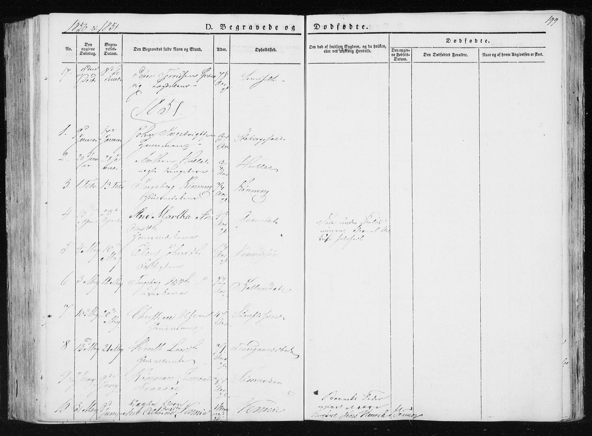 SAT, Ministerialprotokoller, klokkerbøker og fødselsregistre - Nord-Trøndelag, 733/L0323: Ministerialbok nr. 733A02, 1843-1870, s. 199