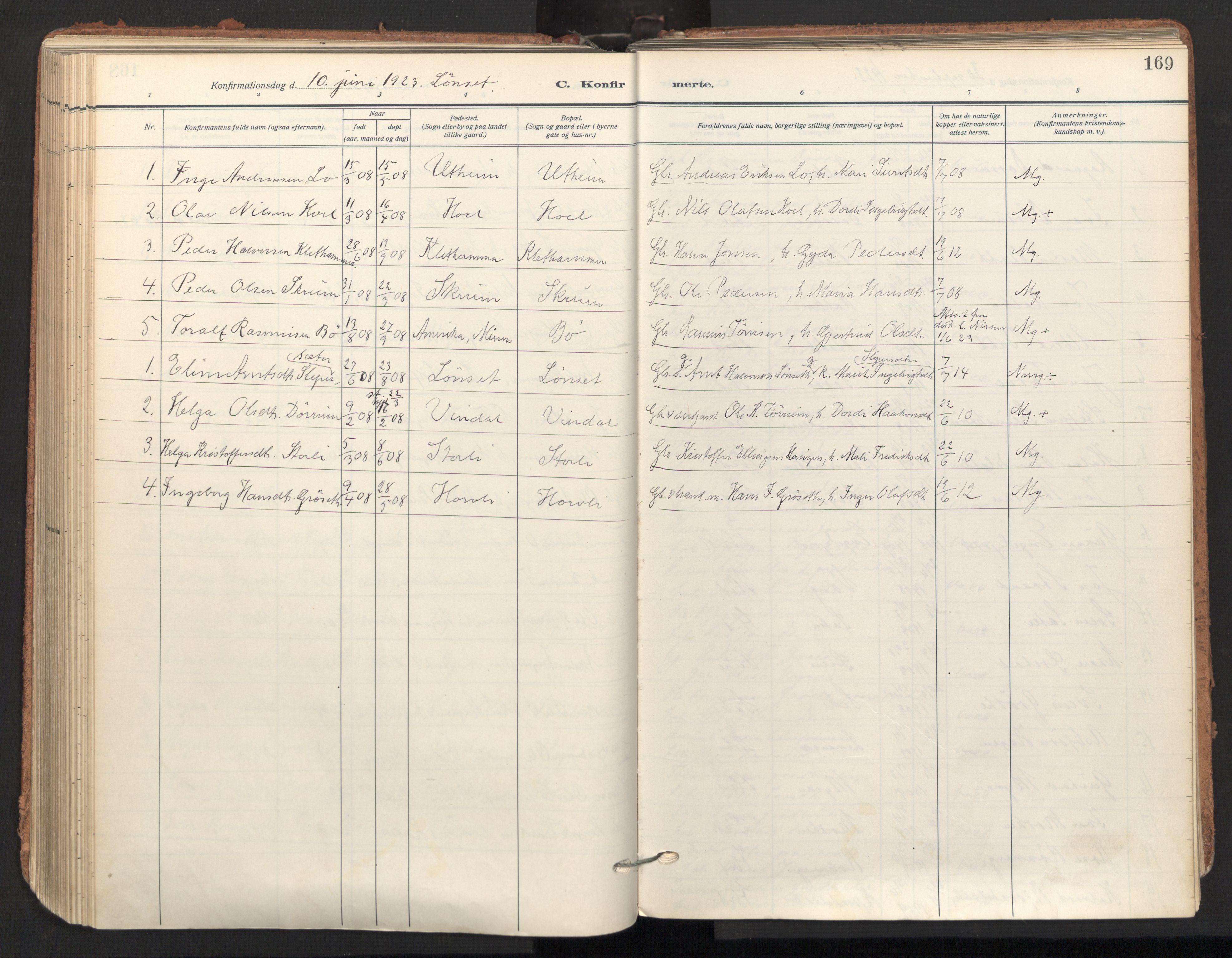 SAT, Ministerialprotokoller, klokkerbøker og fødselsregistre - Sør-Trøndelag, 678/L0909: Ministerialbok nr. 678A17, 1912-1930, s. 169